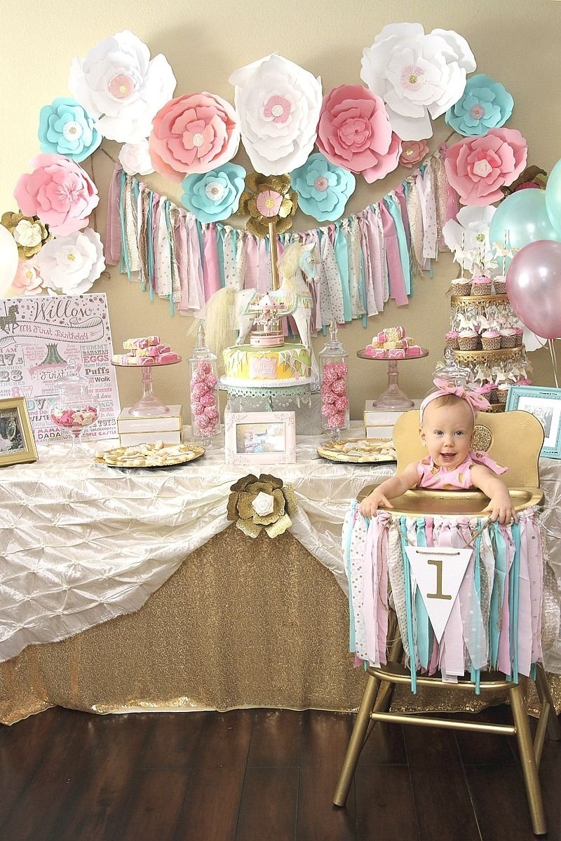 a pink & gold carousel 1st birthday party | carousel, birthdays and gold