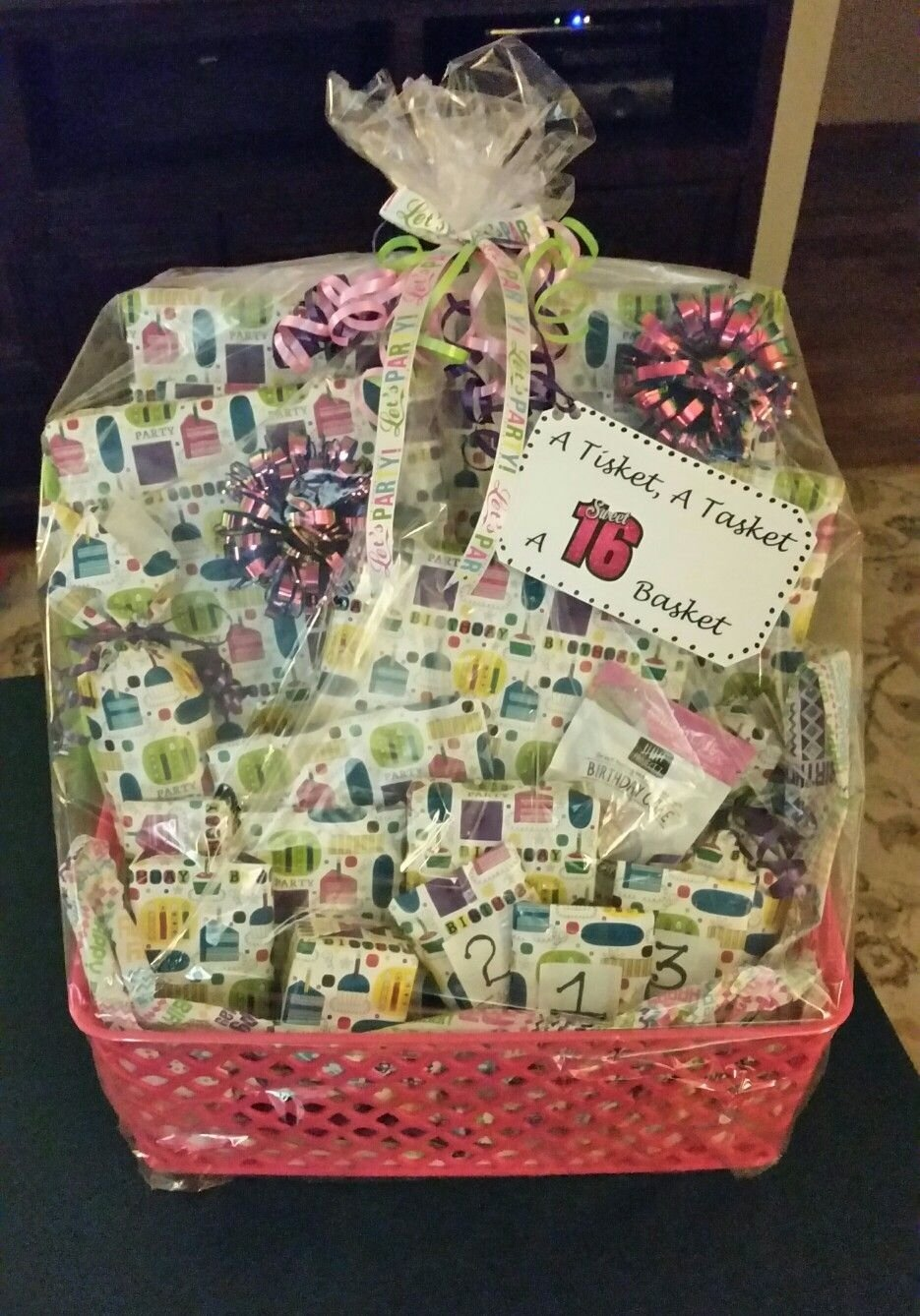 10 Stylish Sweet 16 Gift Ideas For Niece a tisket a tasket a sweet 16 basket filled with 16 gifts for the 1