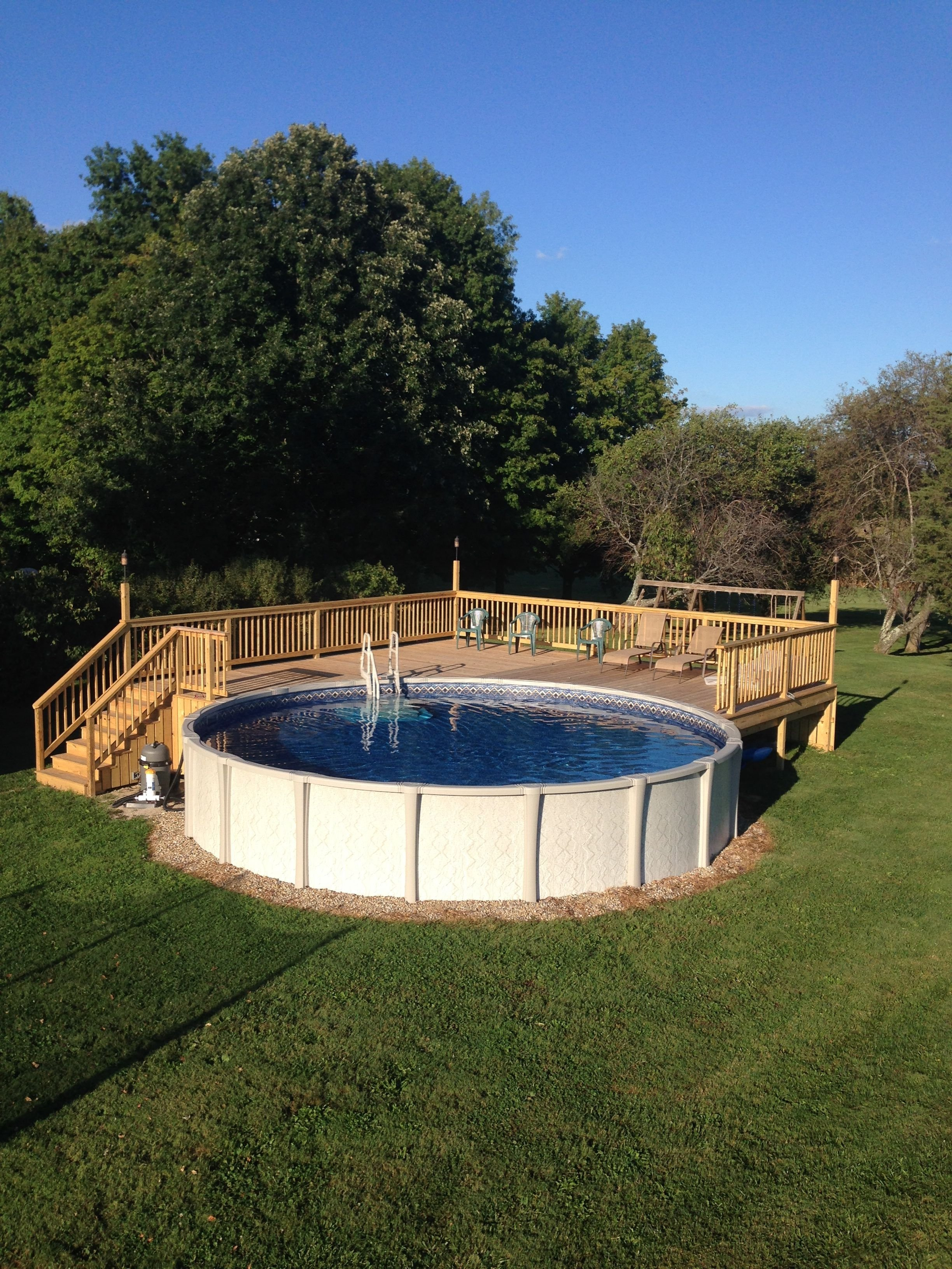 10 Stylish Pool Deck Ideas Above Ground above ground pool deck for 24 ft round pool deck is 28x28