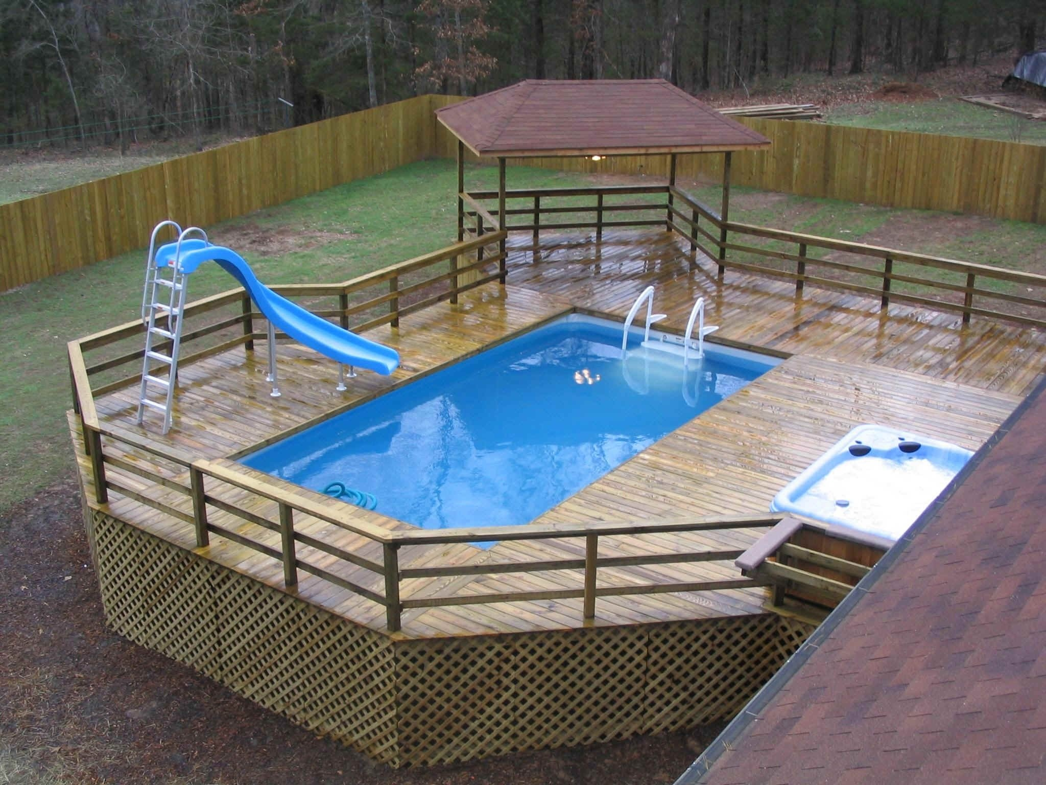 10 Most Popular Above Ground Pool Ideas Backyard above ground pool designs cedar wood decking temeculavalleyslowfood
