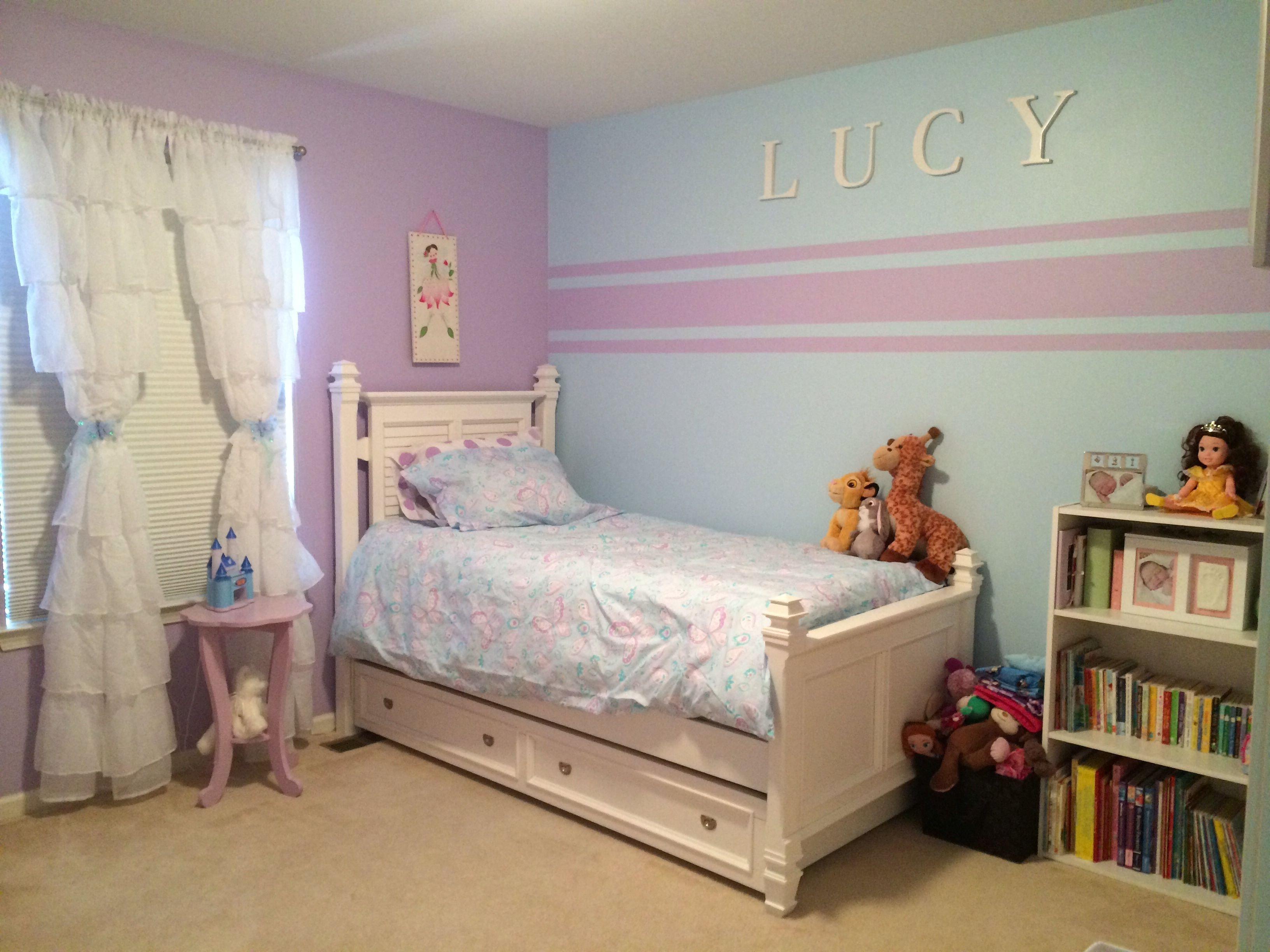 10 Wonderful Painting Ideas For Girls Room accent wall stripes for little girl room kristin duvet set pottery 2020