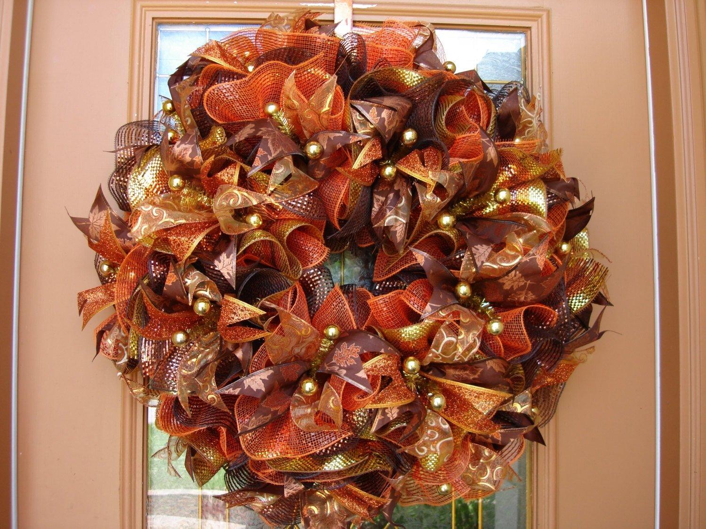10 Fantastic Fall Wreath Ideas With Deco Mesh accessories alluring thanksgiving door wreath decoration ideas