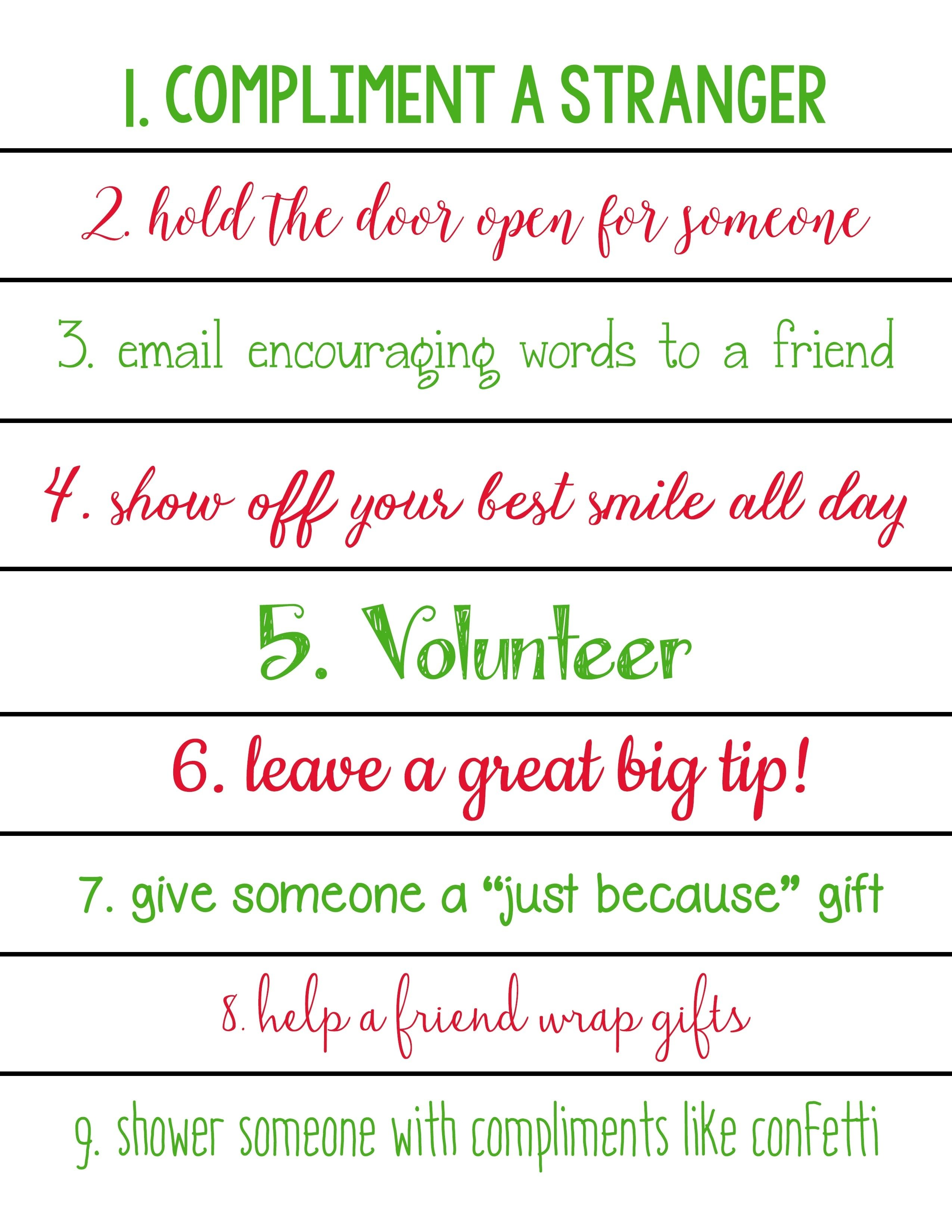 10 Trendy Acts Of Kindness Ideas For Kids acts of kindness christmas countdown calendars free printables 2 2020