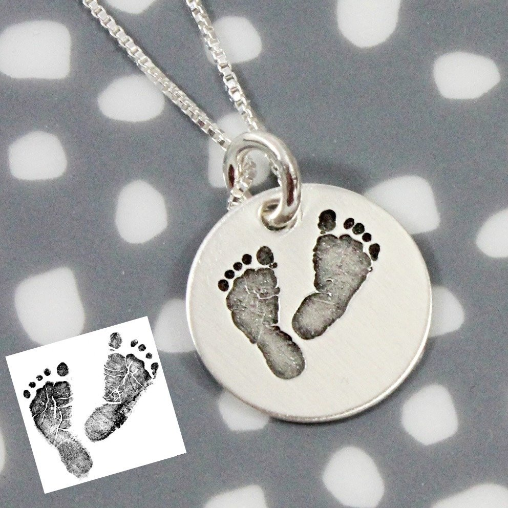 10 Awesome Push Gift Ideas For Wife actual footprint necklace medium memorial jewelry mom gifts and 1 2020