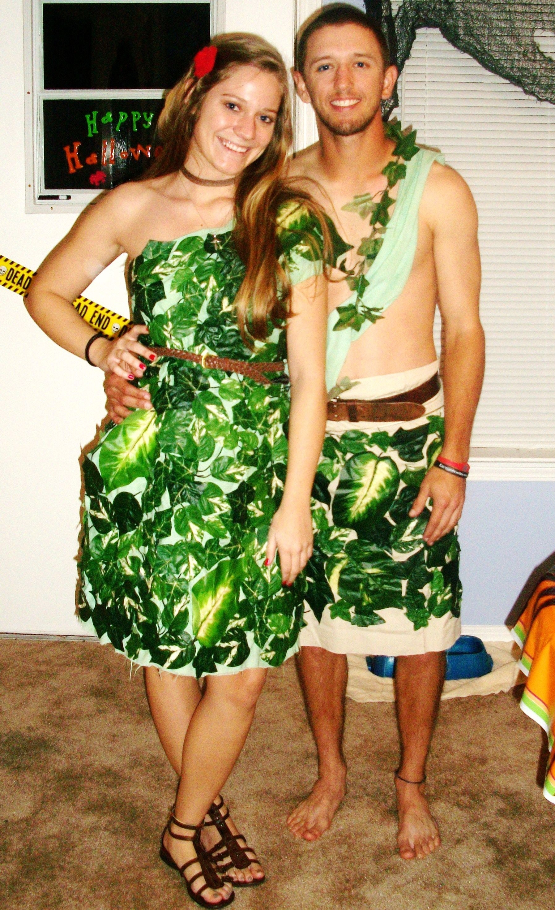 10 Fabulous Adam And Eve Costume Ideas adam and eve halloween costume made with a green sheet cut into a 2020