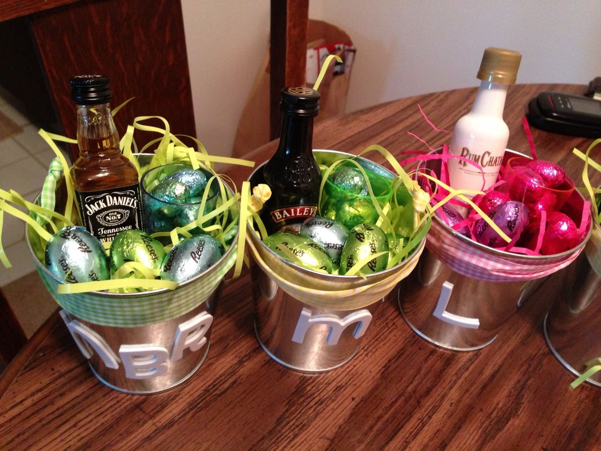 10 Beautiful Easter Baskets Ideas For Adults adult easter baskets favorite booze shot glass and chocolate 2020