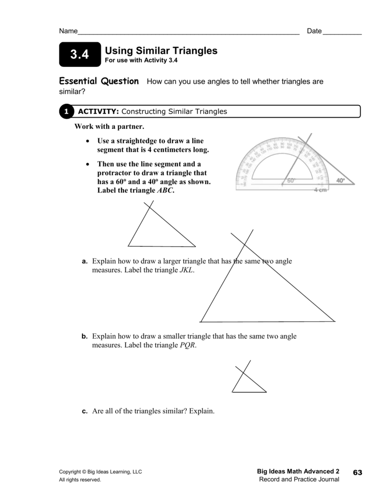 10 Most Popular Big Ideas Math Record And Practice Journal adv 3 4 journal answers using similar triangles wb p 63 2020