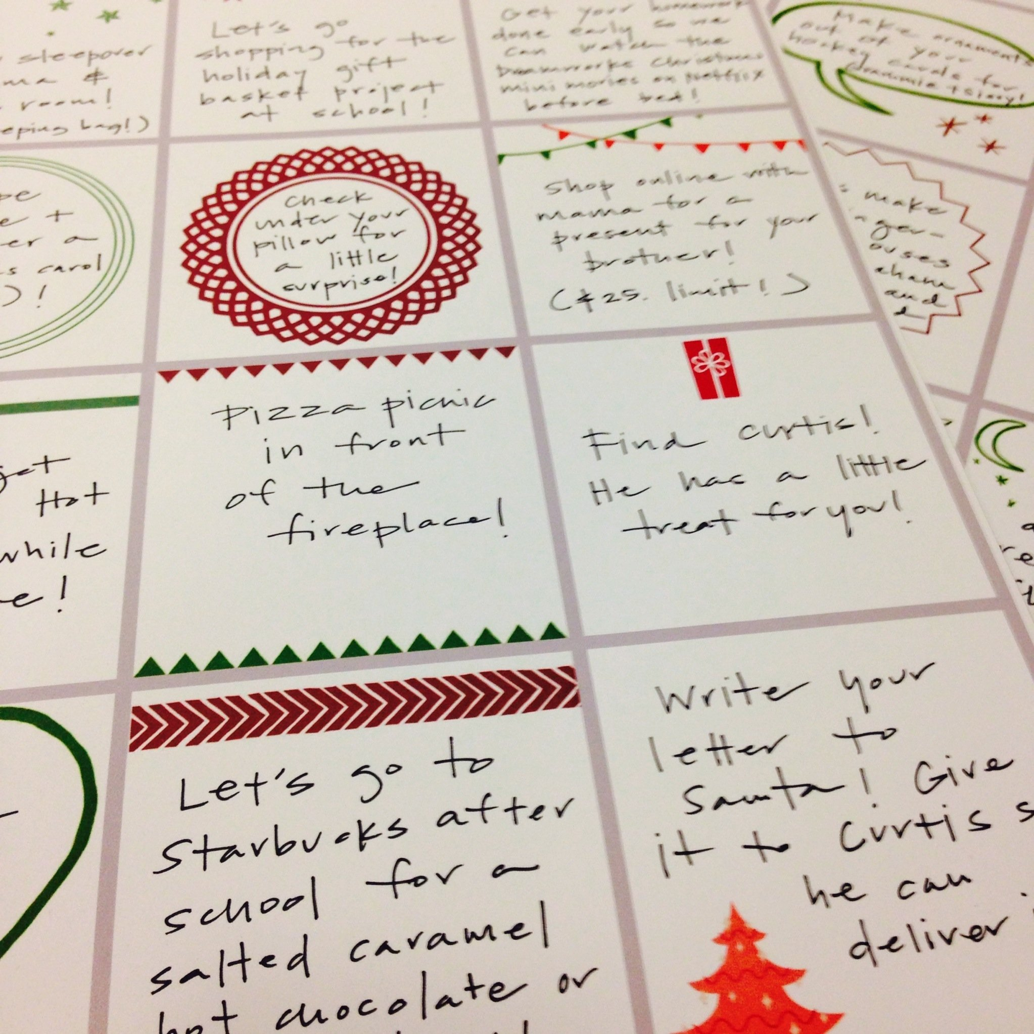 advent calendar filler ideas (and printables | advent calendar