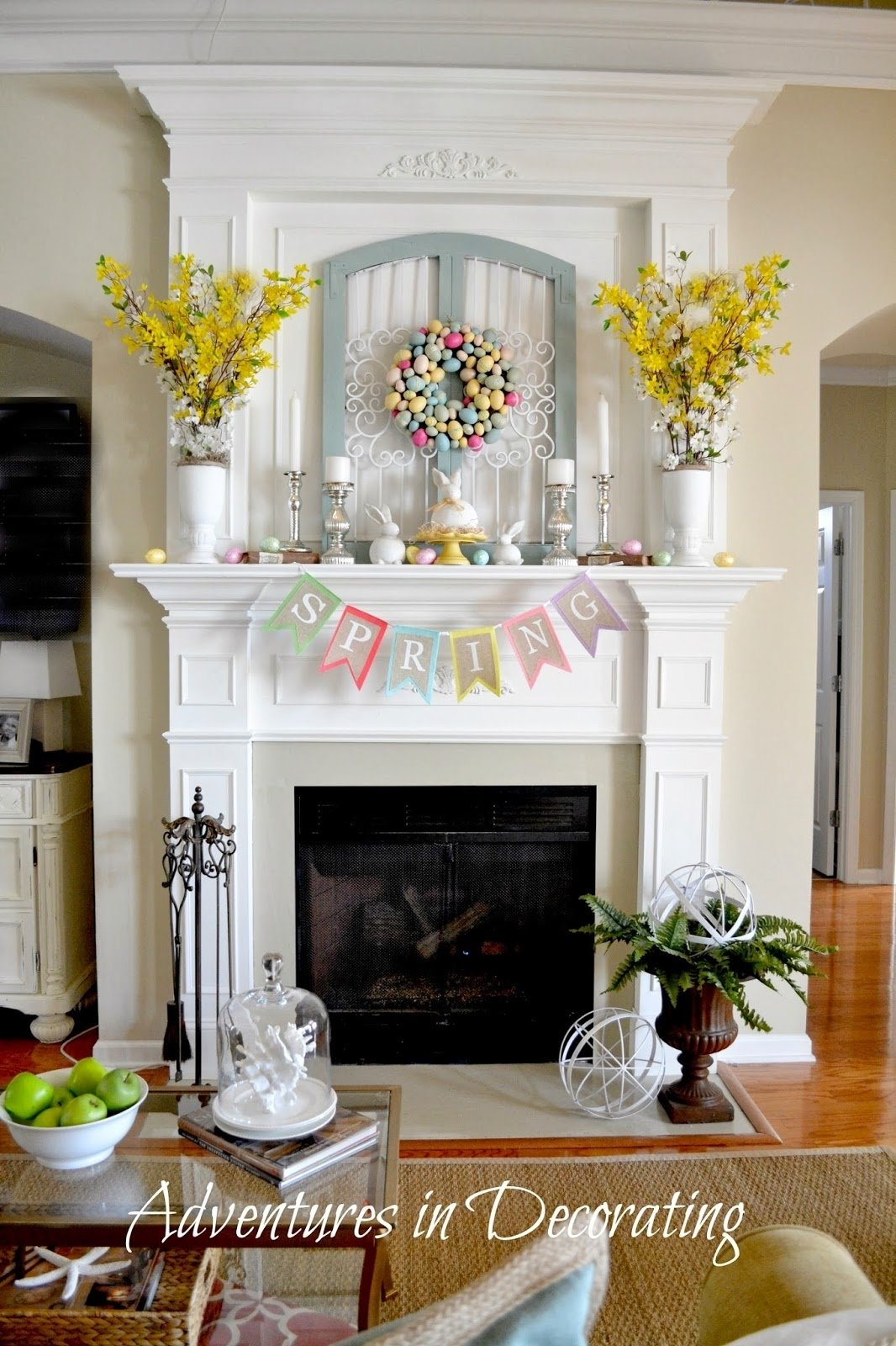 adventures in decorating: styling our spring mantel | mantels for