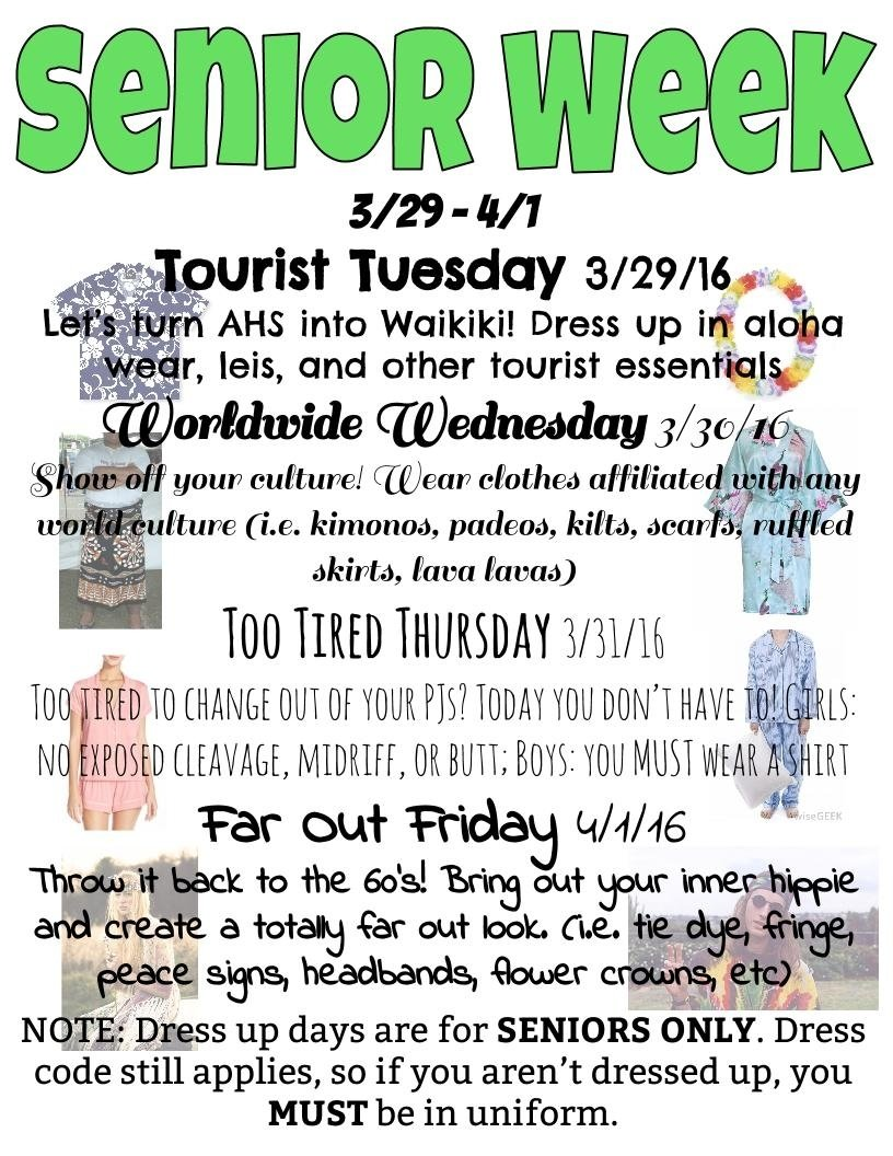 aiea high school student activities: senior week dress up days and