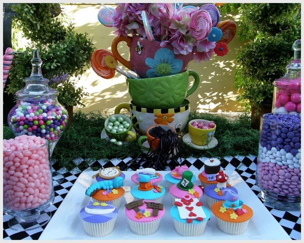 10 Great Alice In Wonderland Decorating Ideas alice in wonderland mad tea party candy buffet birthday party