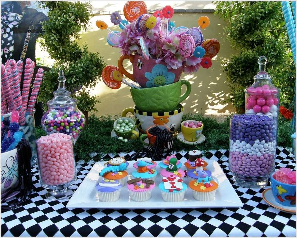 10 Stylish Alice In Wonderland Party Ideas For Adults alice wonderland mad tea party candy buffet birthday ideas tierra 7