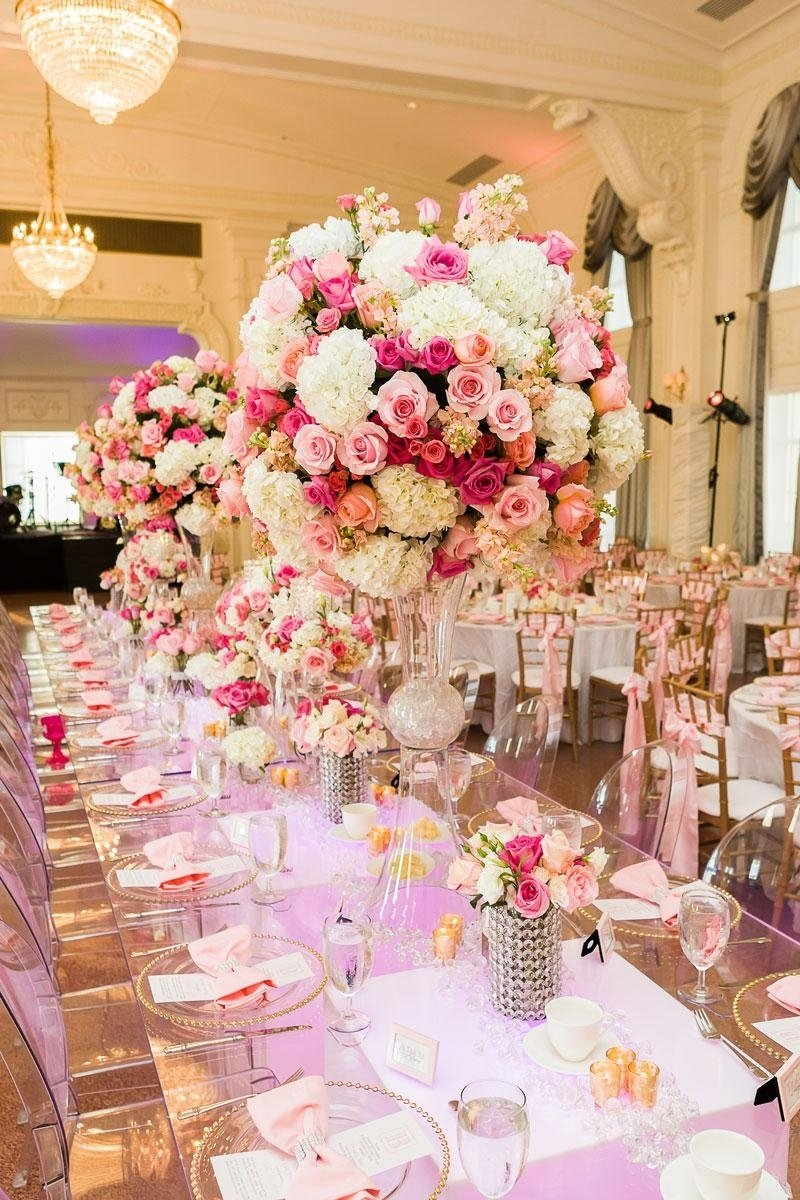 10 Unique Wedding Flowers And Reception Ideas amazing tablescape with pink and white floral centerpieces sitting 2020