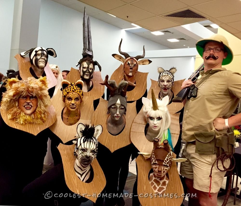 10 Awesome Funny Group Halloween Costumes Ideas amazing taxidermy animal heads funny group costume halloween
