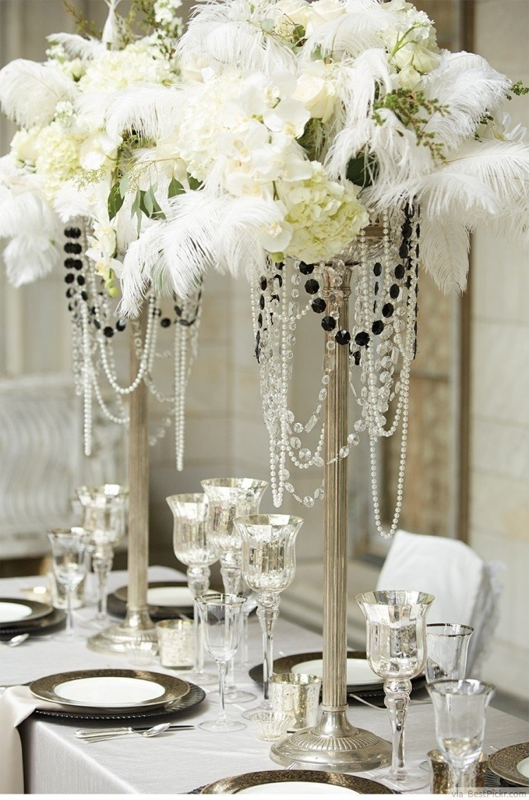 10 Fashionable The Great Gatsby Party Ideas amazing white table for great gatsby party decorations with flowers 2020