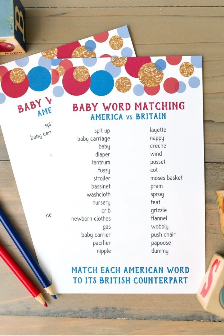 10 Most Popular Funny Baby Shower Games Ideas american and british word match baby shower game baby words tea 2020
