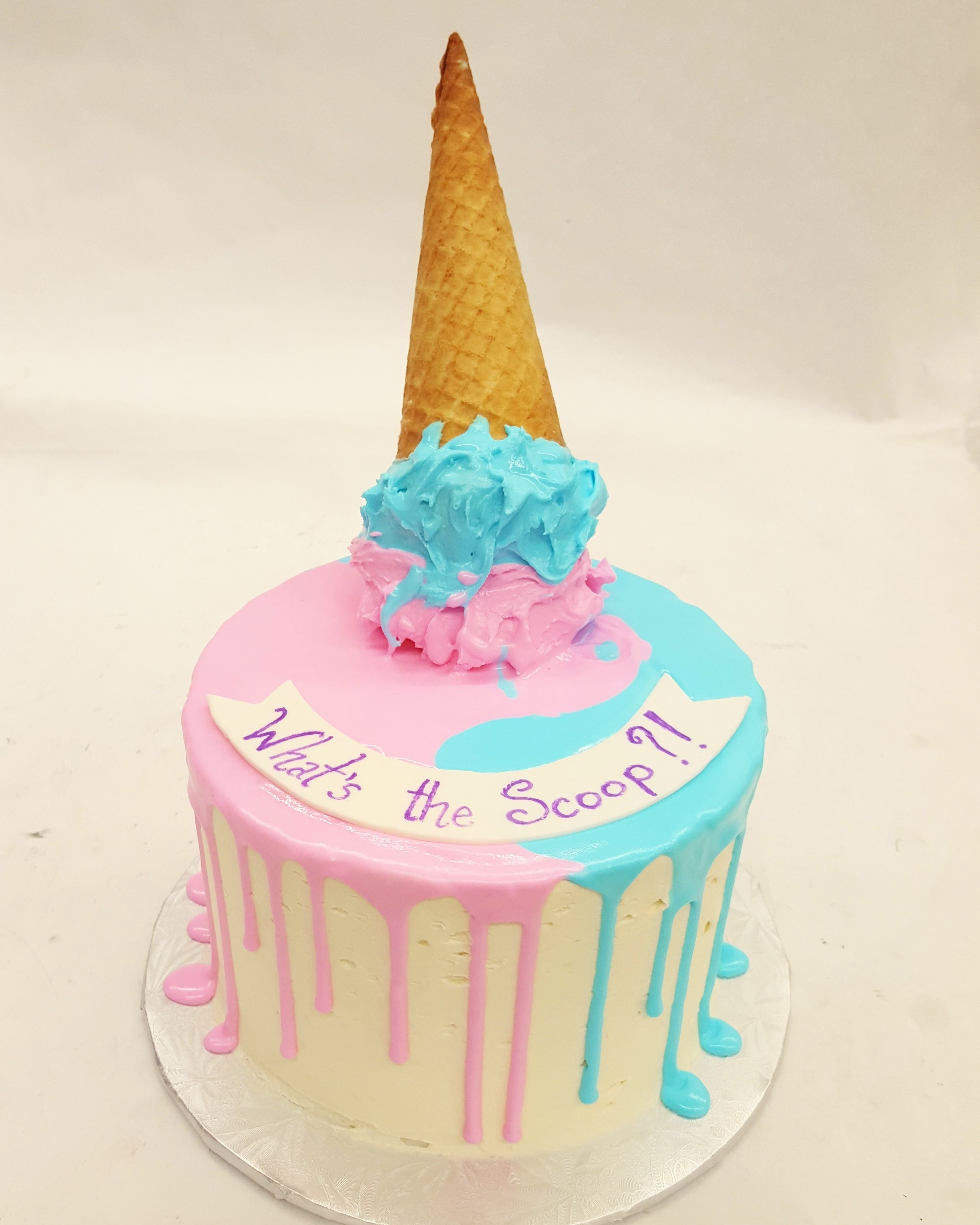 10 Beautiful Baby Gender Reveal Cake Ideas an ice cream themed gender reveal cake whats the scoop party 2020