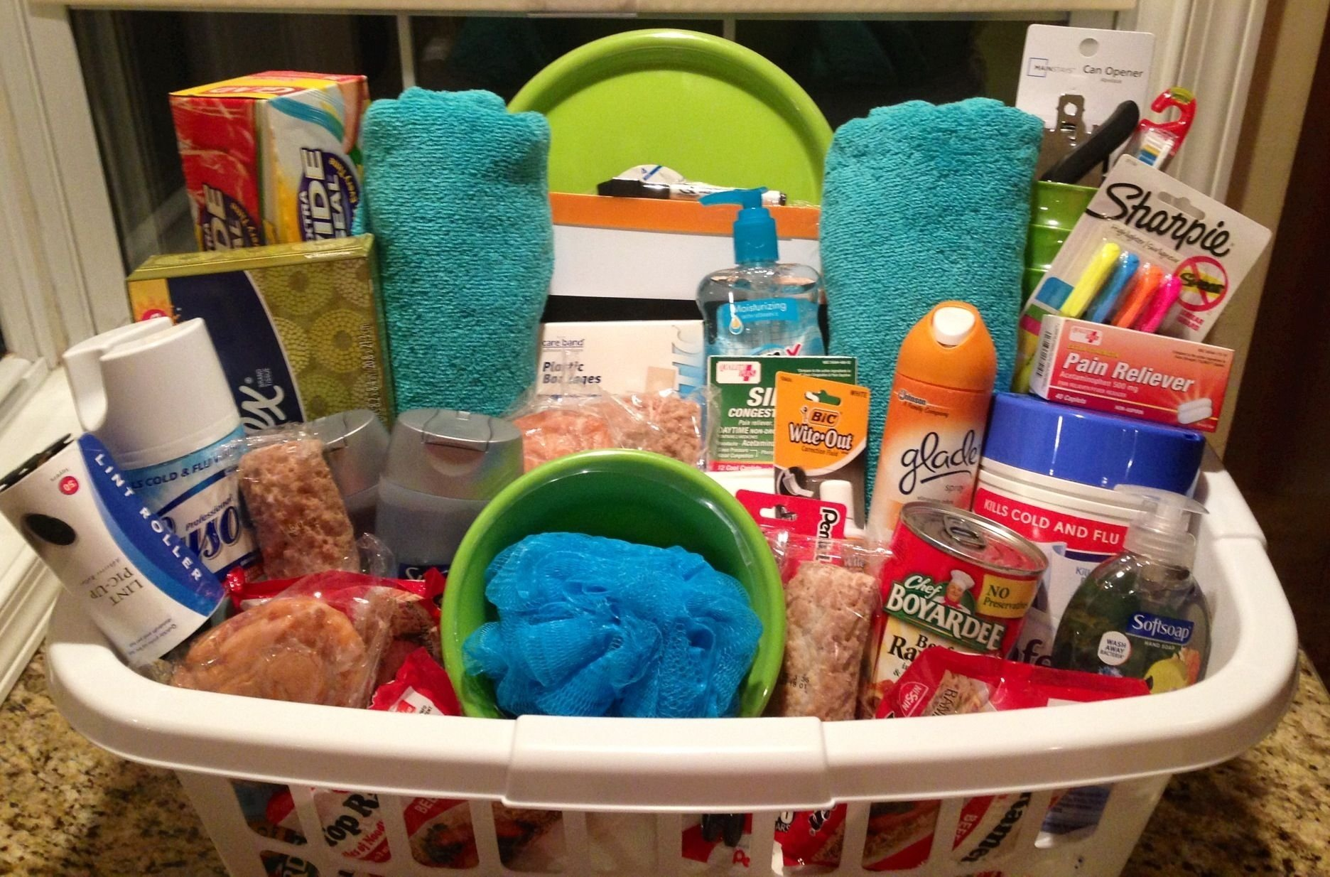 10 Unique High School Senior Gift Ideas an off to college basket i put together for my step sisters high 2021