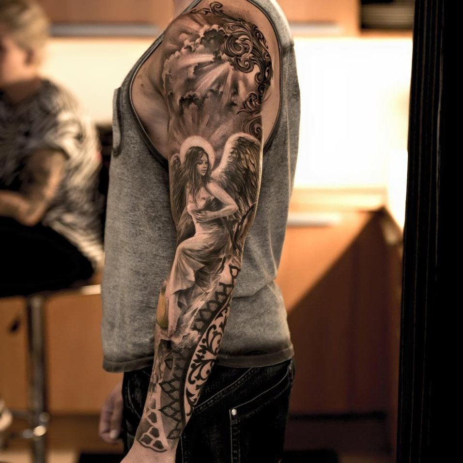 10 Gorgeous Sick Tattoo Ideas For Guys angel sleeve tattoo best tattoo design ideas 1