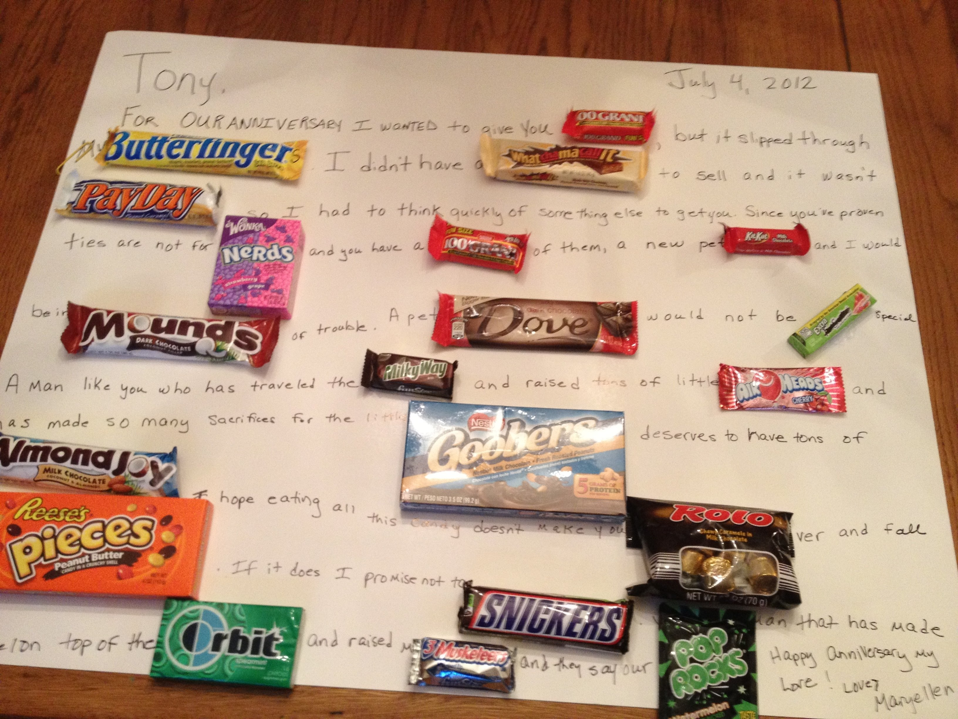 10 Attractive 4Th Anniversary Gift Ideas For Her anniversary candy card for my husband hillarys home pinterest 10 2020