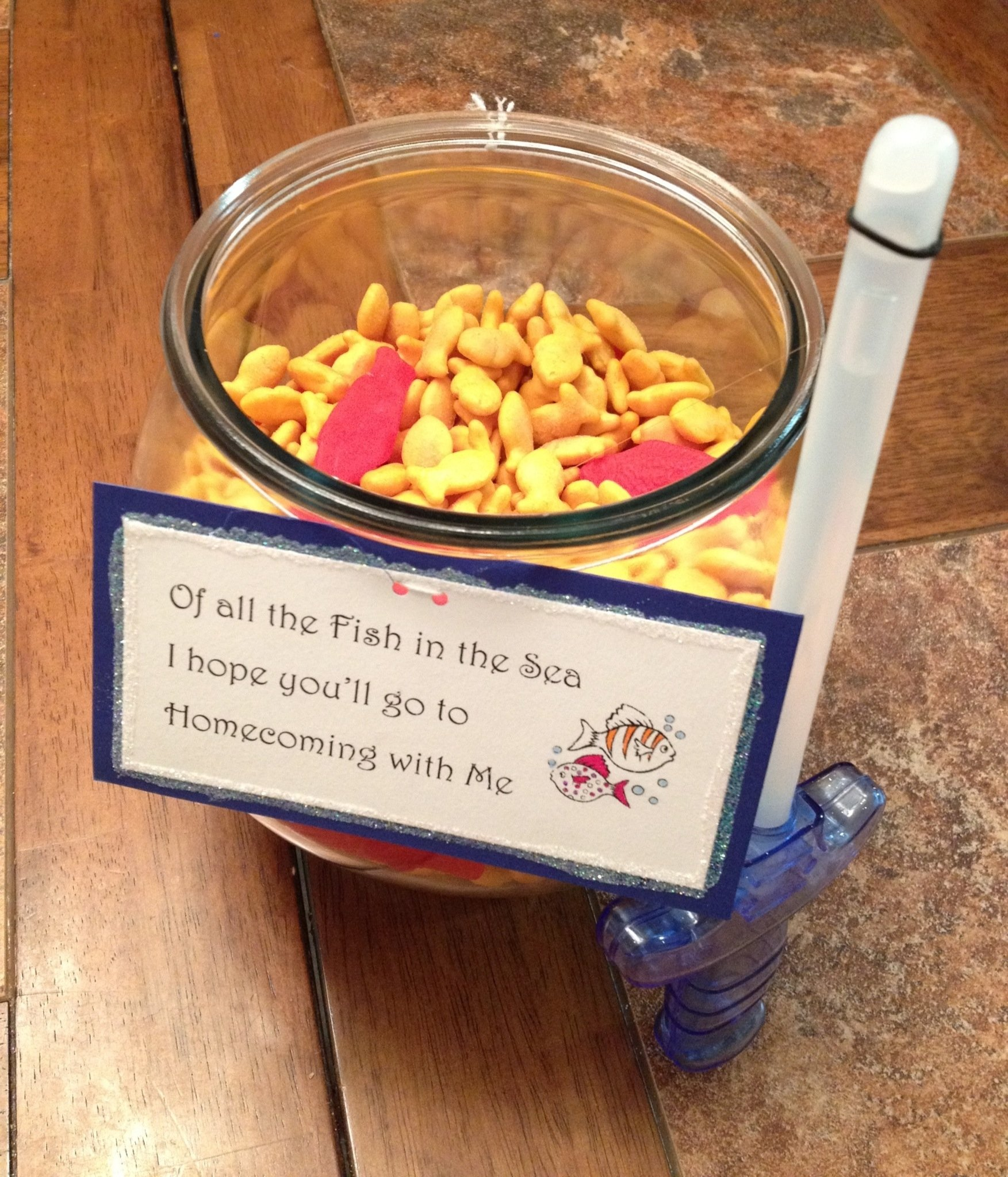 another idea for asking a girl to homecoming/prom. the fishbowl is