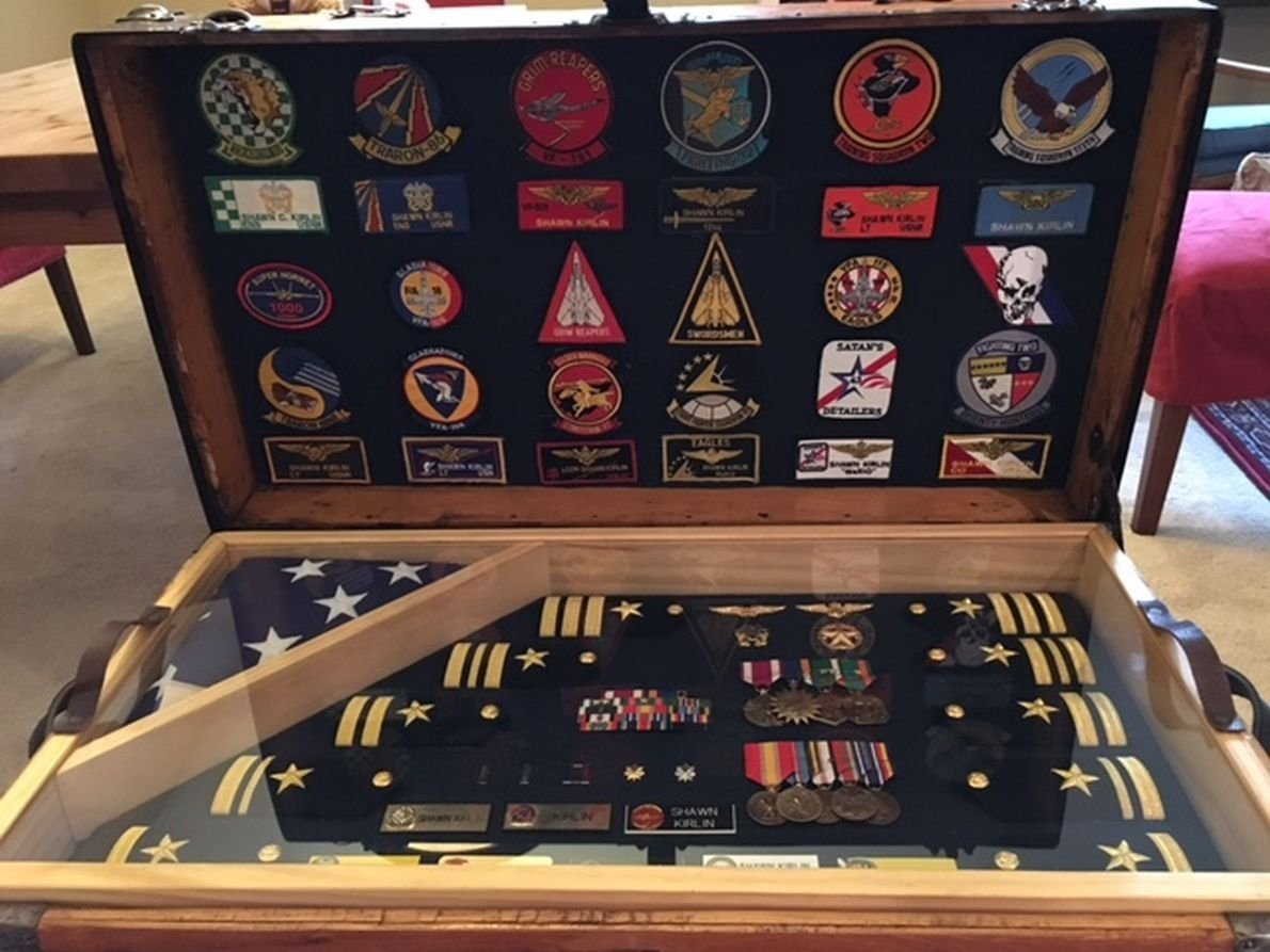 10 Trendy Air Force Shadow Box Ideas antique trunk used as usaf us air force and army retirement shadow 2021