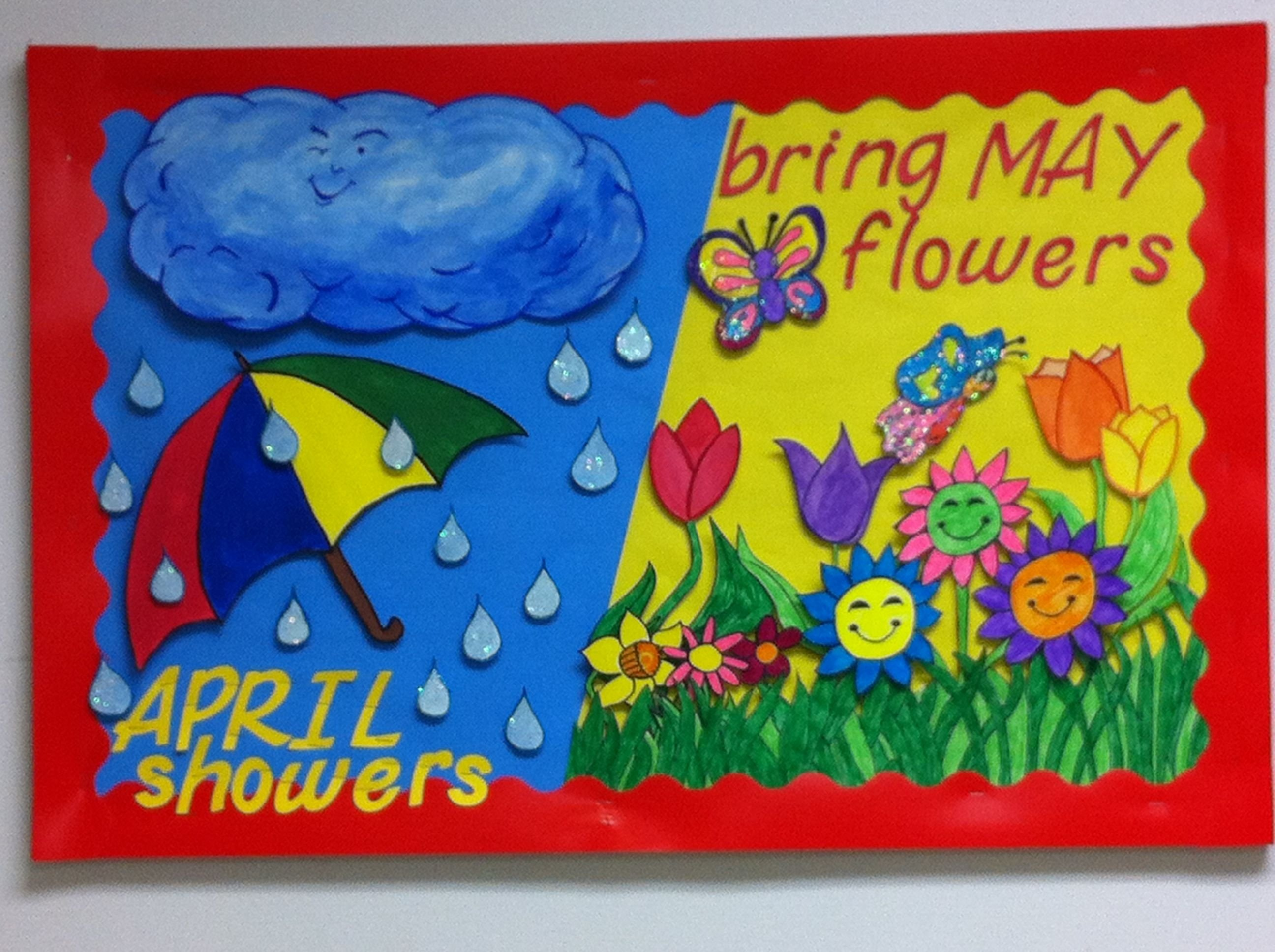 10 Attractive April Showers Bulletin Board Ideas april going into may themed classroom bulletin board ideas 2020