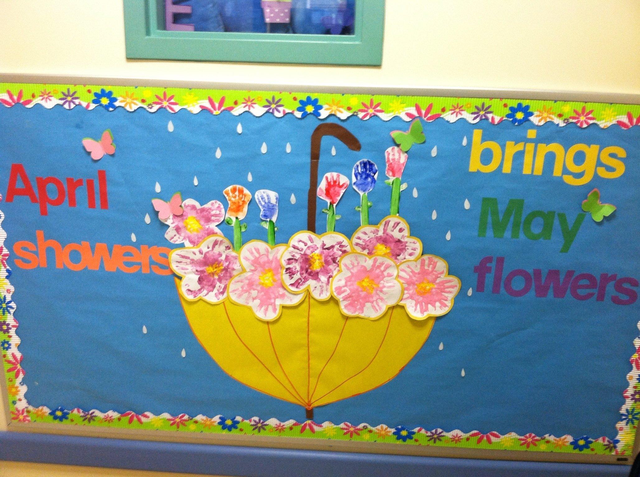 10 Pretty Bulletin Board Ideas For April april may bulletin board flowers madehand prints classroom 2 2020