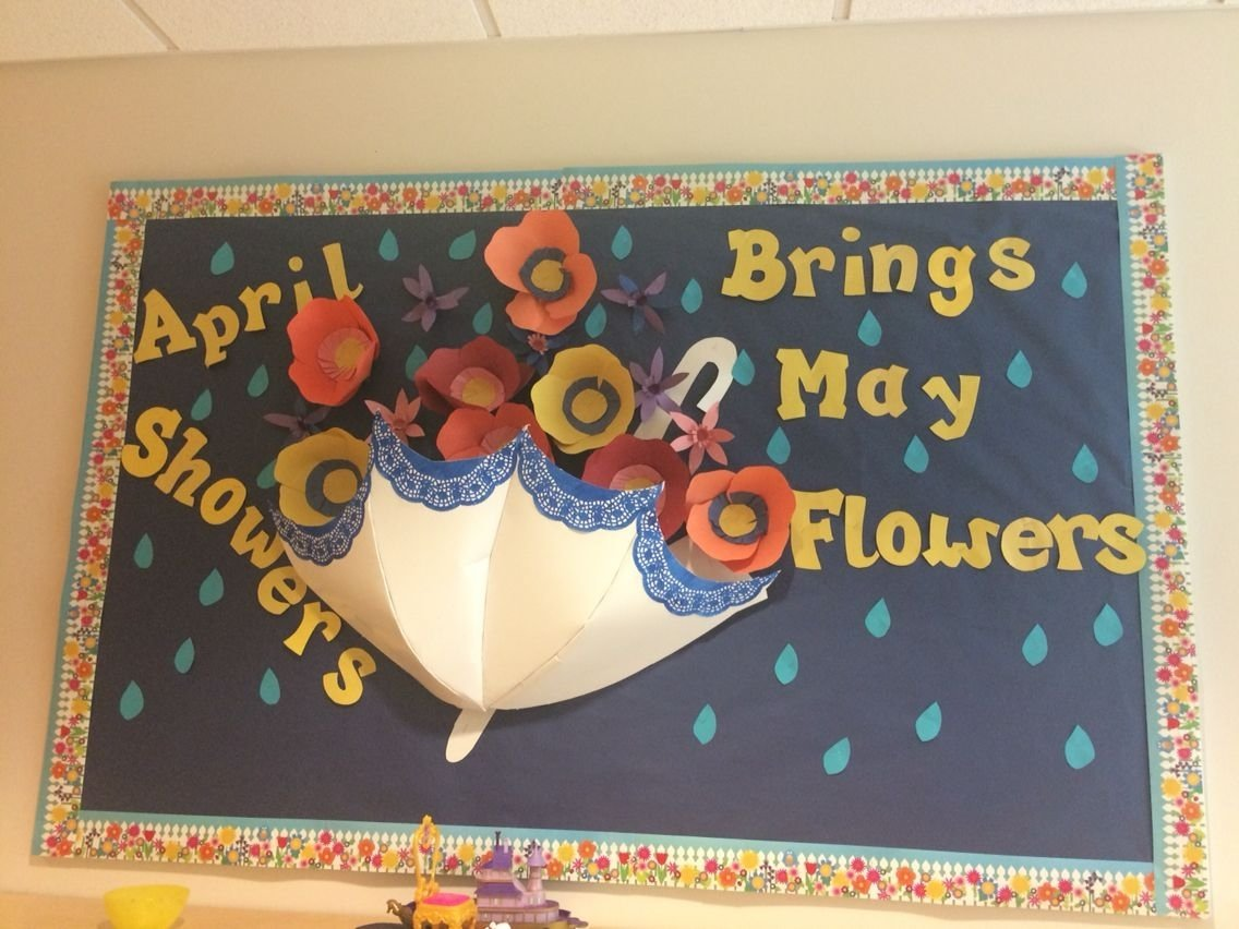 10 Attractive April Showers Bulletin Board Ideas april showers bring may flowers spring classroom bulletin board 2020