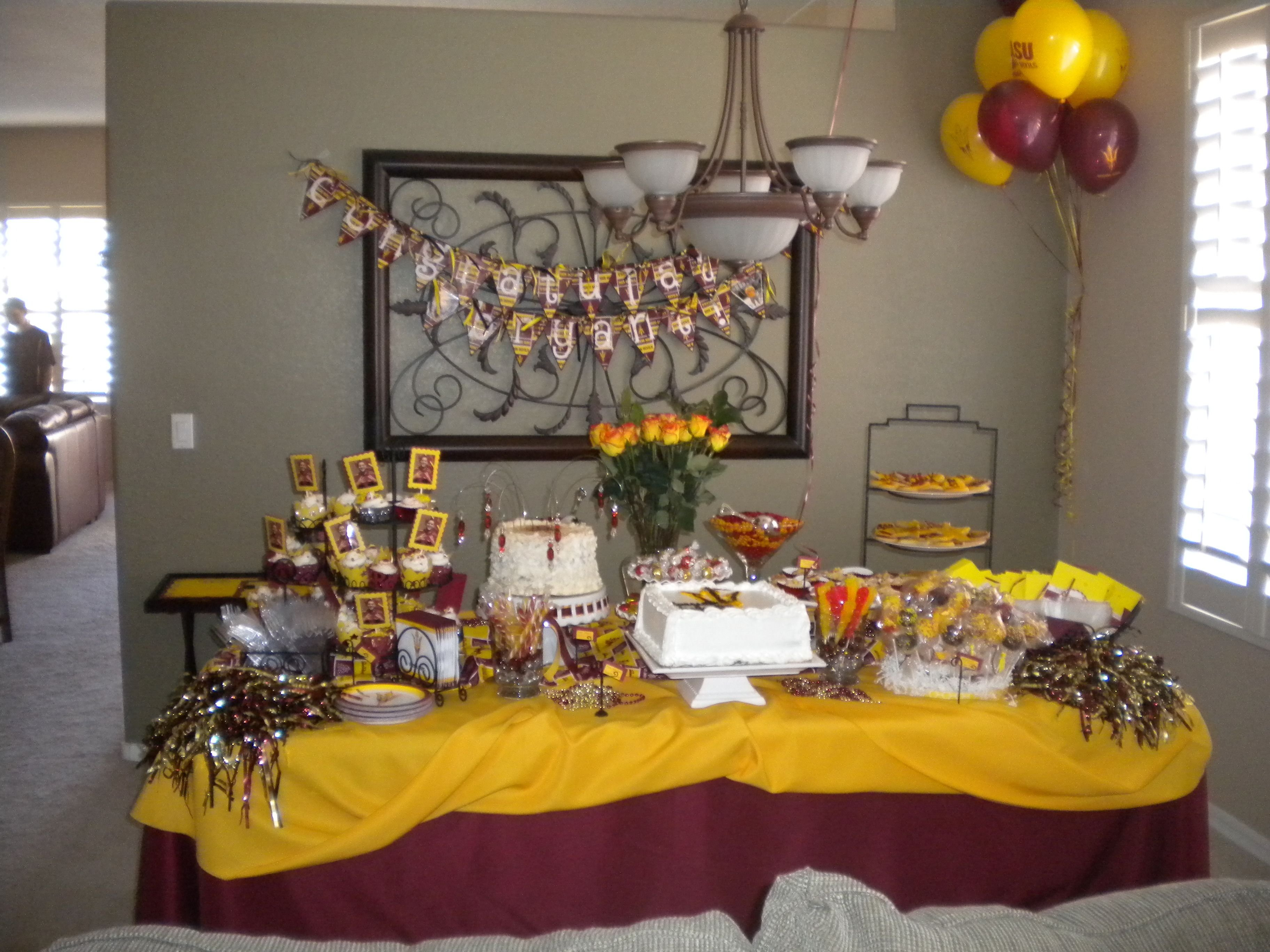 10 Pretty College Graduation Party Ideas For Adults arizona state university themed graduation dessert buffet sweet 1
