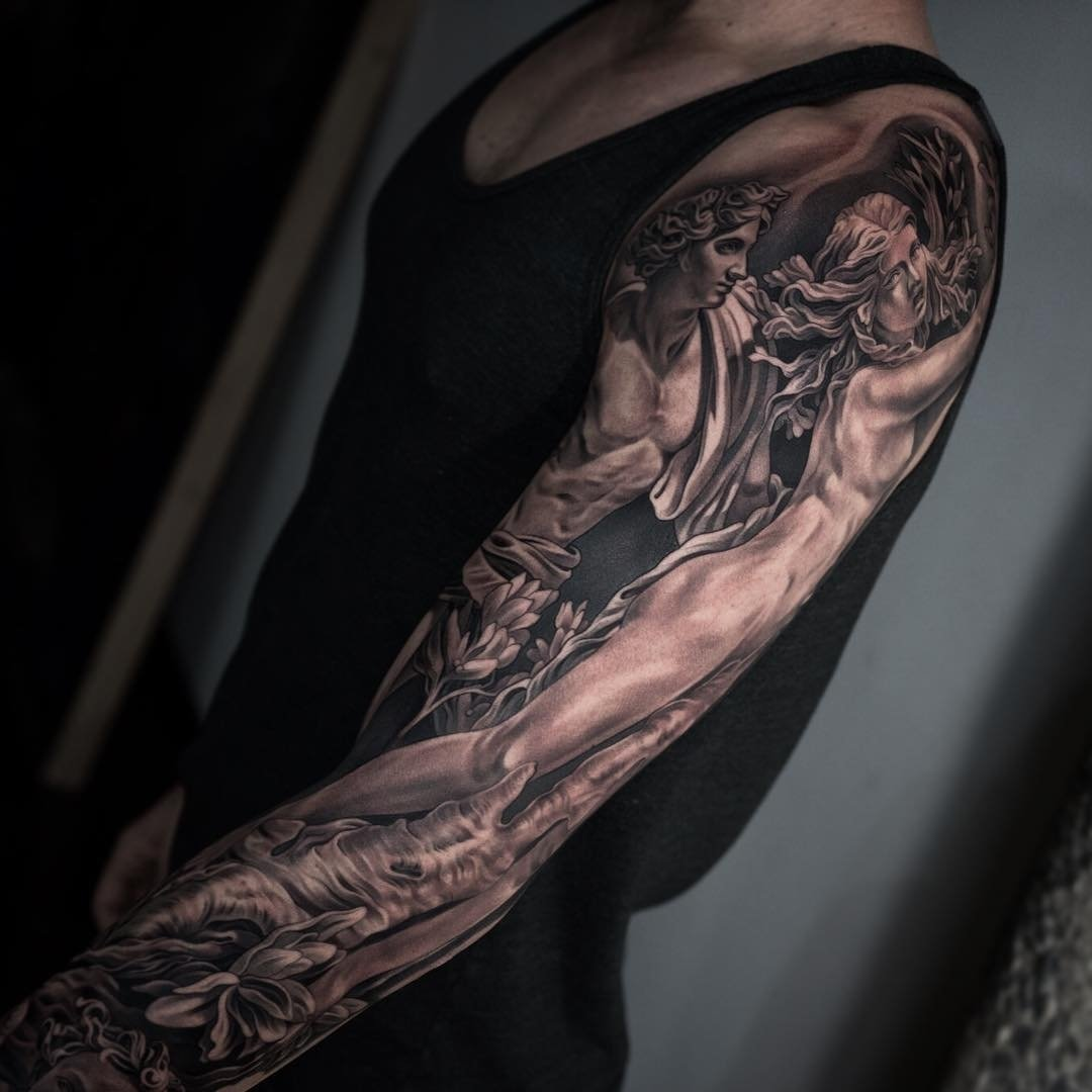 10 Perfect Black And Grey Sleeve Tattoo Ideas arm sleeve tattoo best tattoo ideas gallery 2020