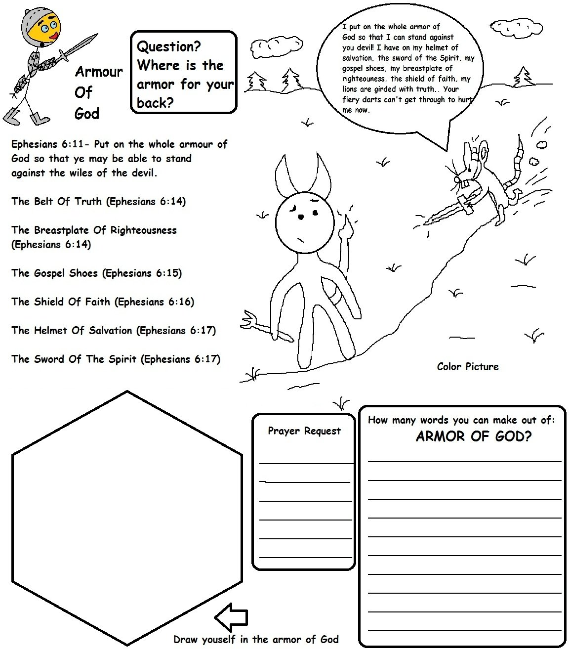 Armor Of God Activities For Kids Coloring Page Sporturka Full Jpg 1152x1319 Breastplate Template