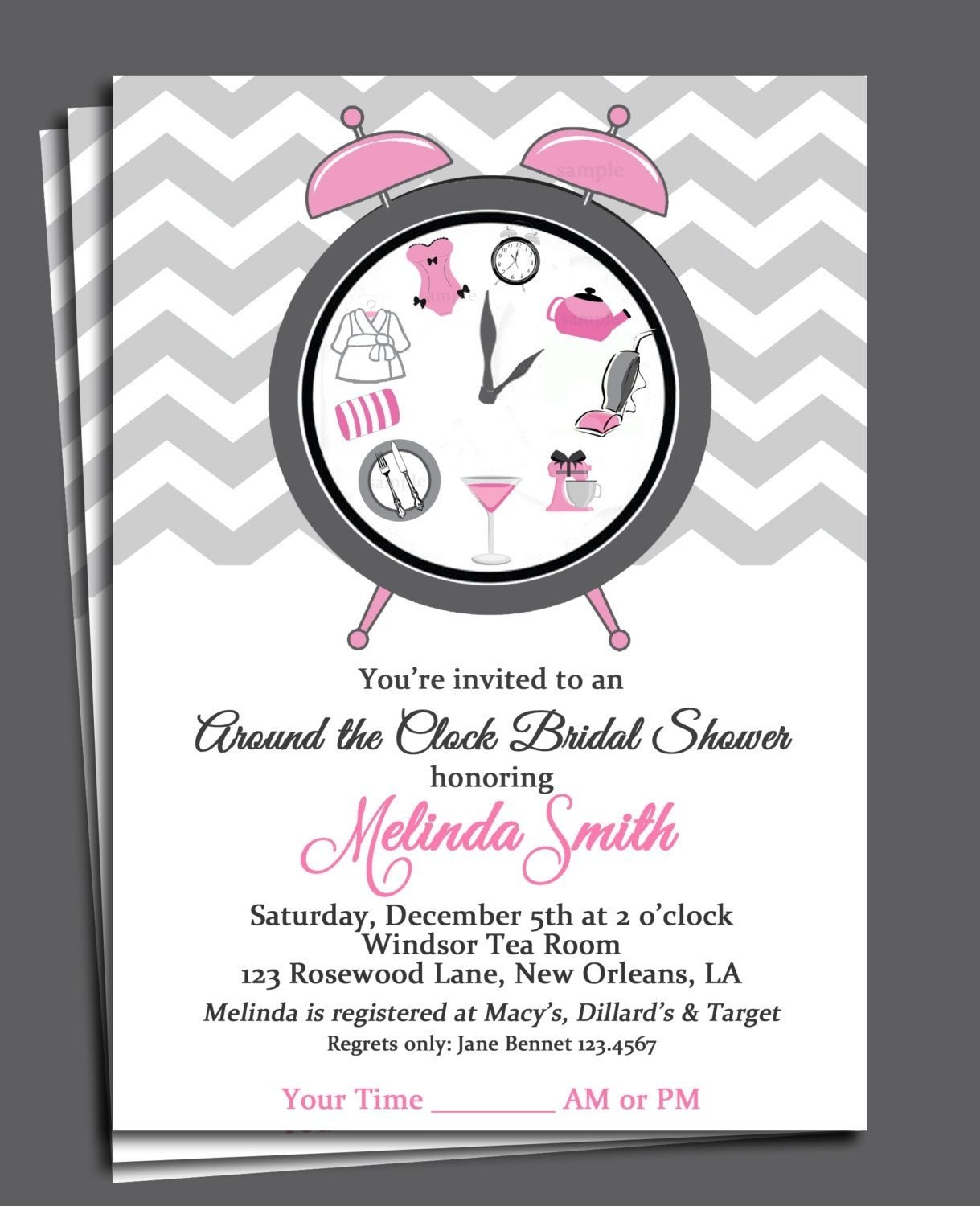 10 Cute Around The Clock Bridal Shower Ideas around the clock bridal shower invitation printable or printed with 1 2020