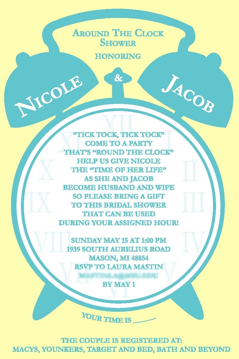 10 Cute Around The Clock Bridal Shower Ideas around the clock bridal shower invitations kinderhooktap 2020