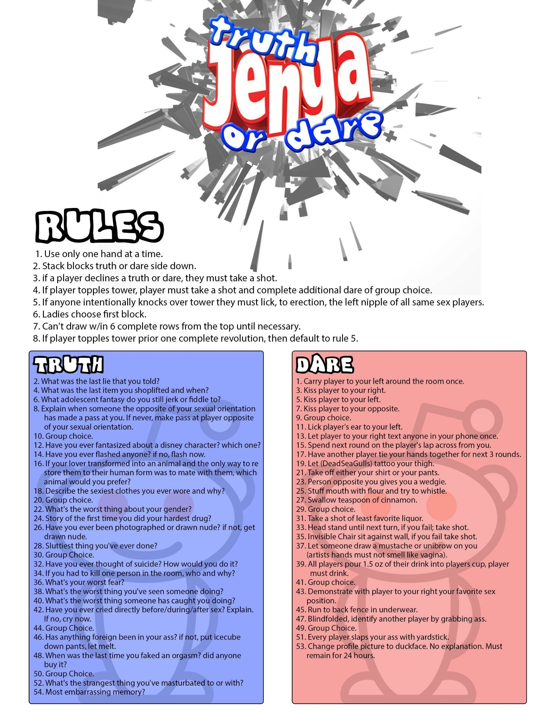 10 Ideal Dare Ideas For Truth Or Dare as requested truth dare jenga adult edition pics 1 2020