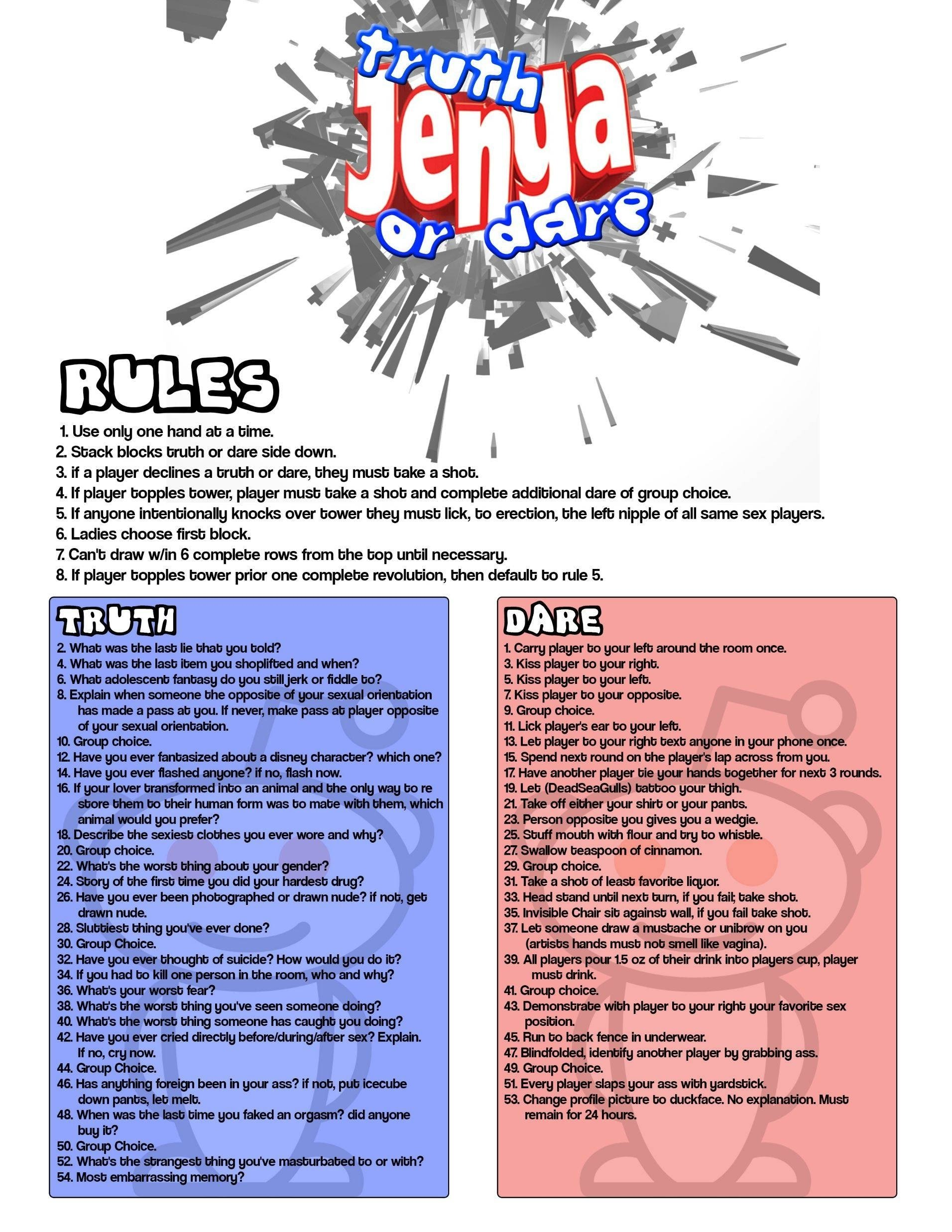 10 Perfect Truth Or Dare Jenga Ideas as requested truth dare jenga adult edition pics 5 2021