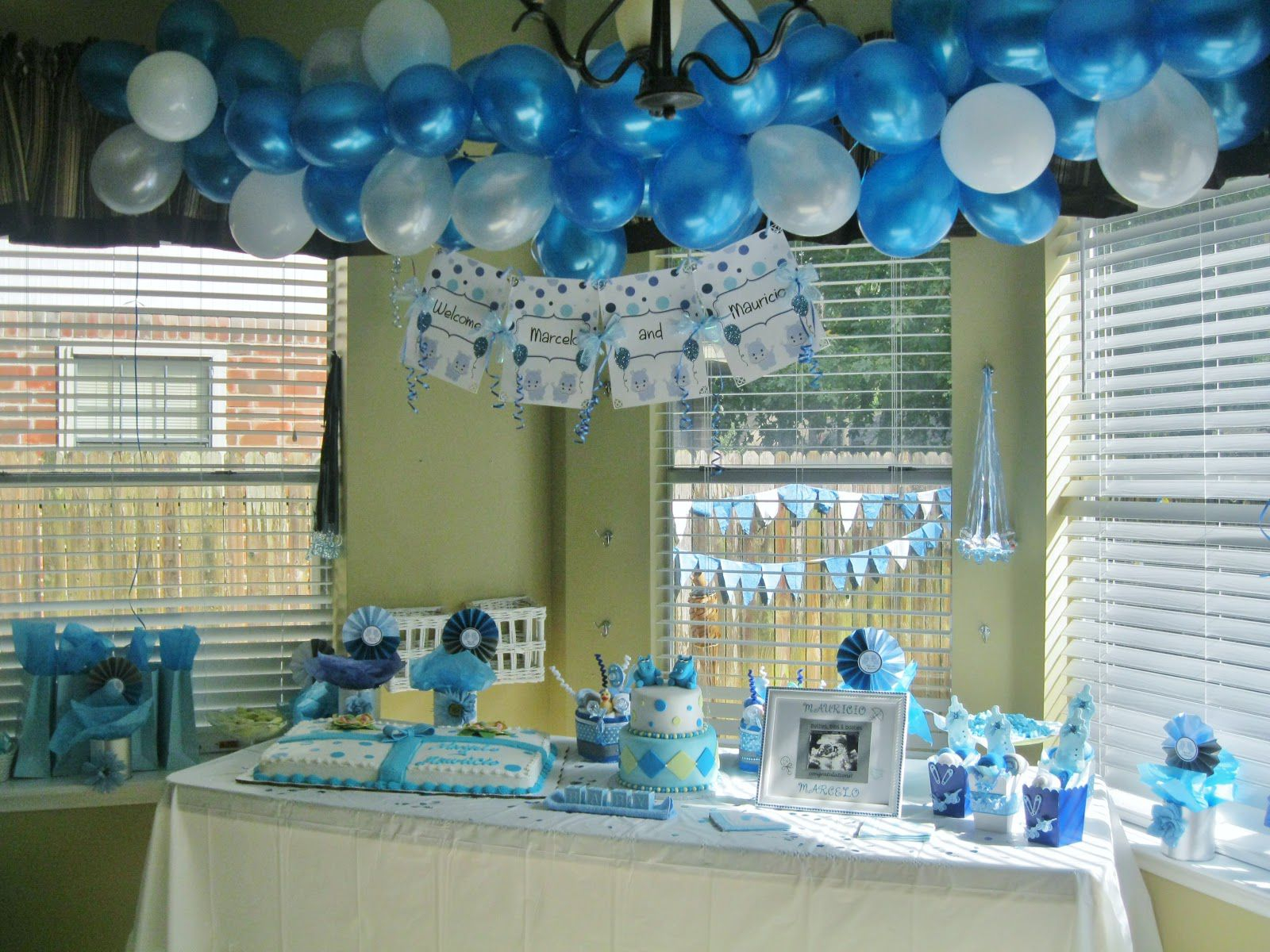 10 Beautiful Blue And White Baby Shower Ideas attractive blue baby shower tables decorations in the corner of the