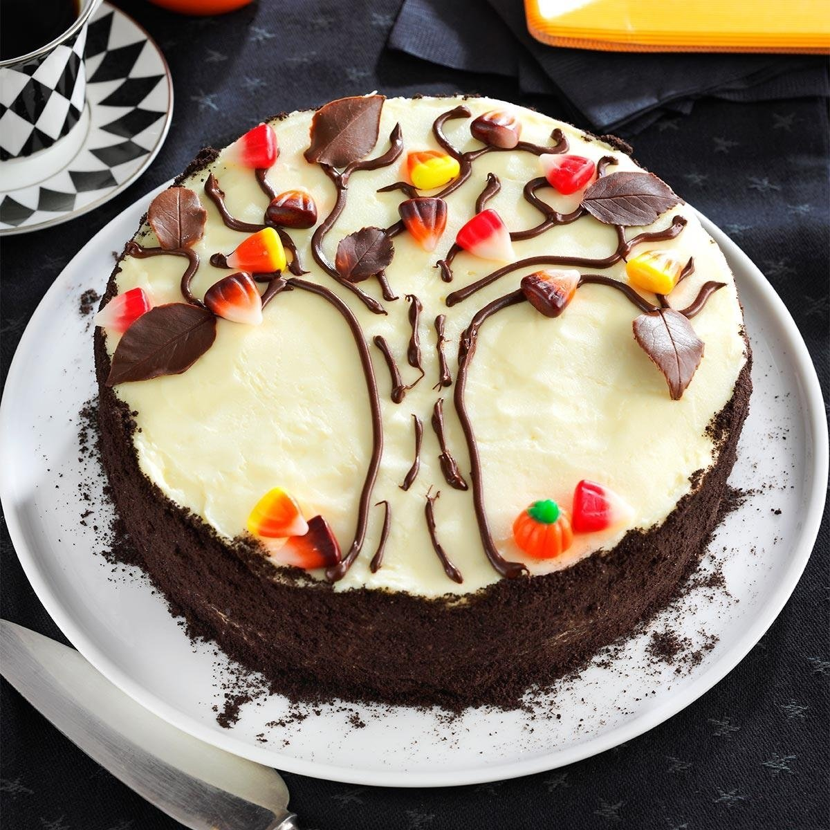 10 Beautiful Easy Halloween Cake Decorating Ideas autumn tree cake recipe taste of home 2020
