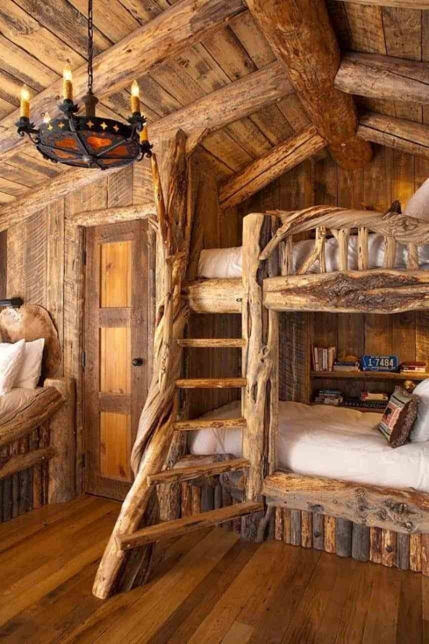 10 Great Log Cabin Decorating Ideas Pictures awesome log cabin decorating ideas with rustic ladder and chandelier 2020