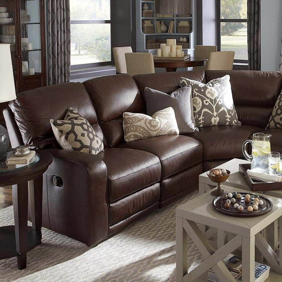 awesome reclining living room furniture #4 - brown leather sectional