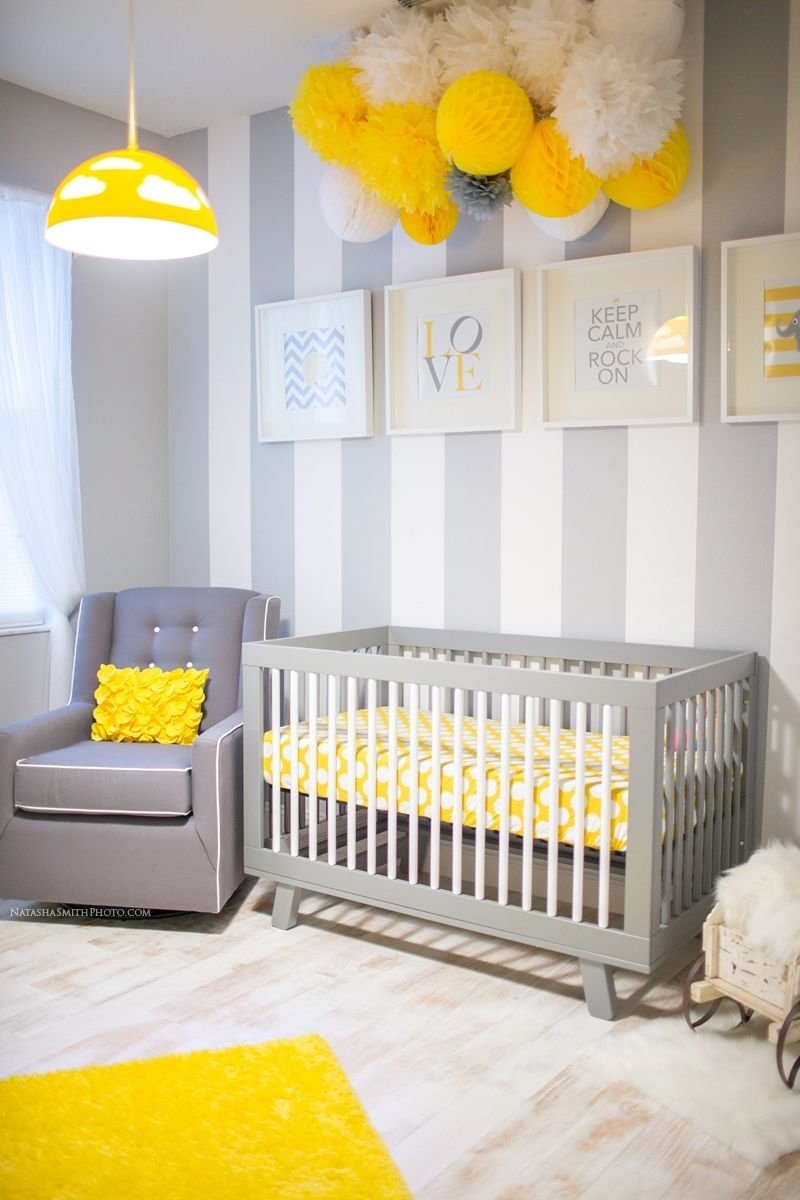 10 Fashionable Yellow And Gray Nursery Ideas awesome yellow baby nurseries tissue balls diy wall art and diy wall 2020