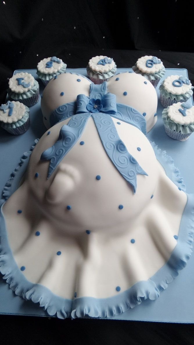 10 Stunning Baby Boy Baby Shower Cake Ideas baby bump baby shower cake in blue and white pasteles pinterest 2020