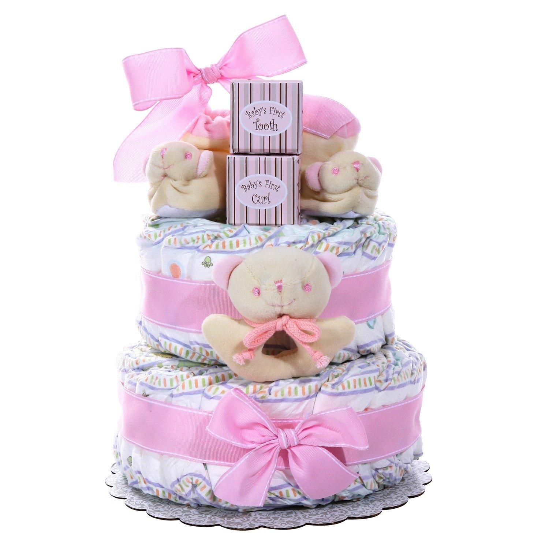 10 Lovable Baby Girl Gift Basket Ideas baby cakes 2 tier diaper cake girl gift baskets plus
