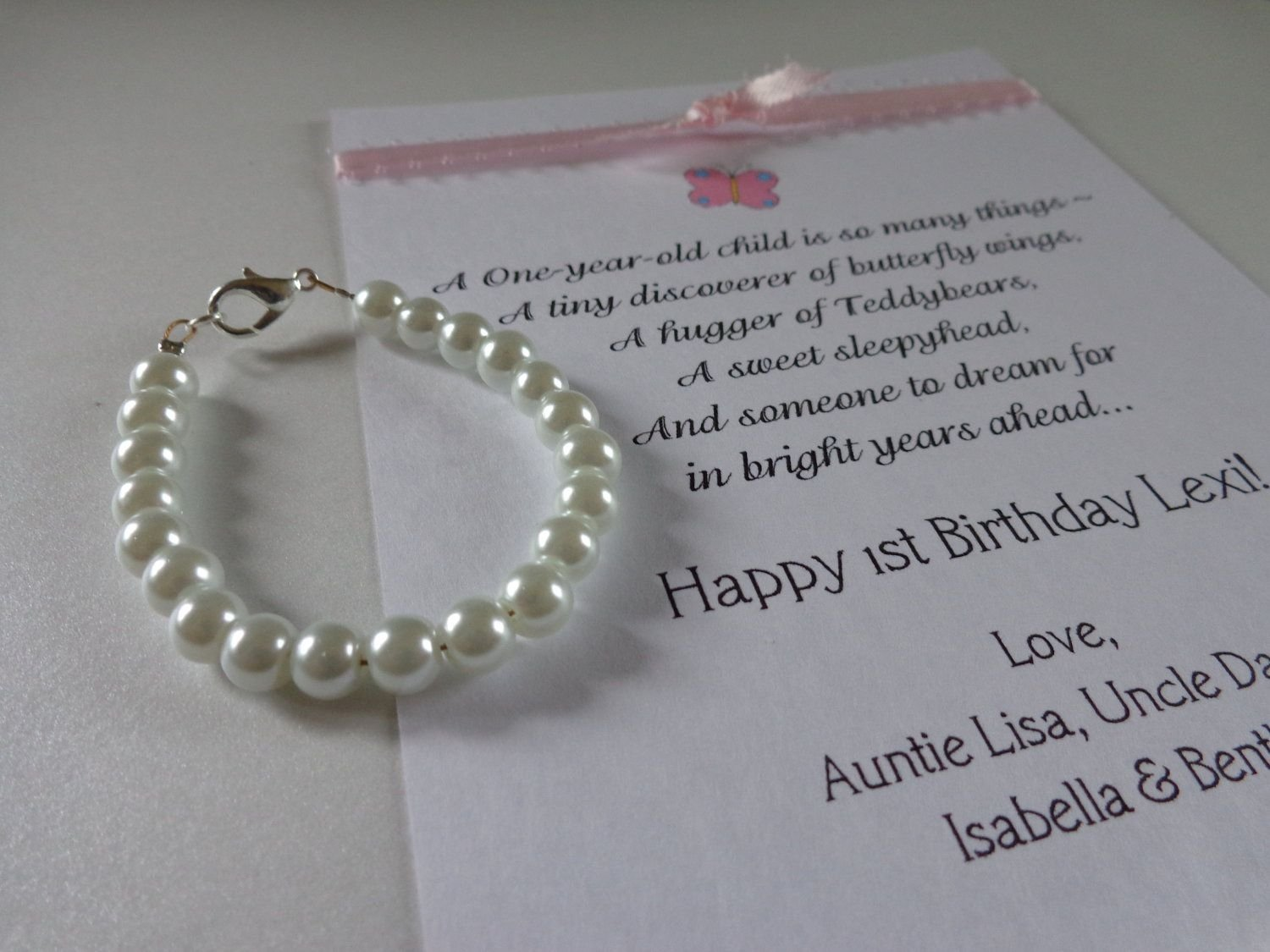 10 Stunning Girl First Birthday Gift Ideas baby girl 1st birthday gift pearl bracelet with birthday card first 1