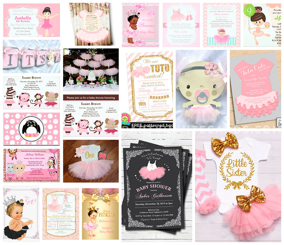 10 Nice Cute Ideas For Baby Shower Invitations baby girl ballerina tutu invitations party ideas