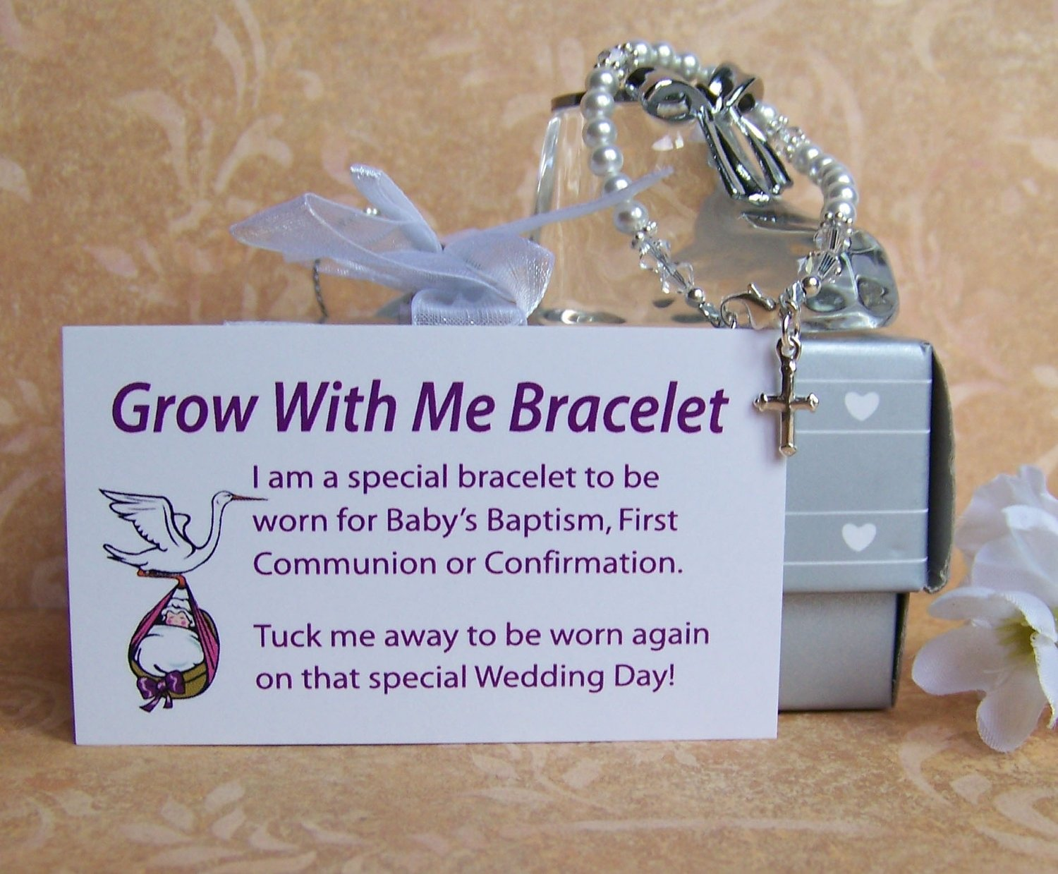 baby girl baptism bracelet grow with me. $38.00, via etsy. | it's a