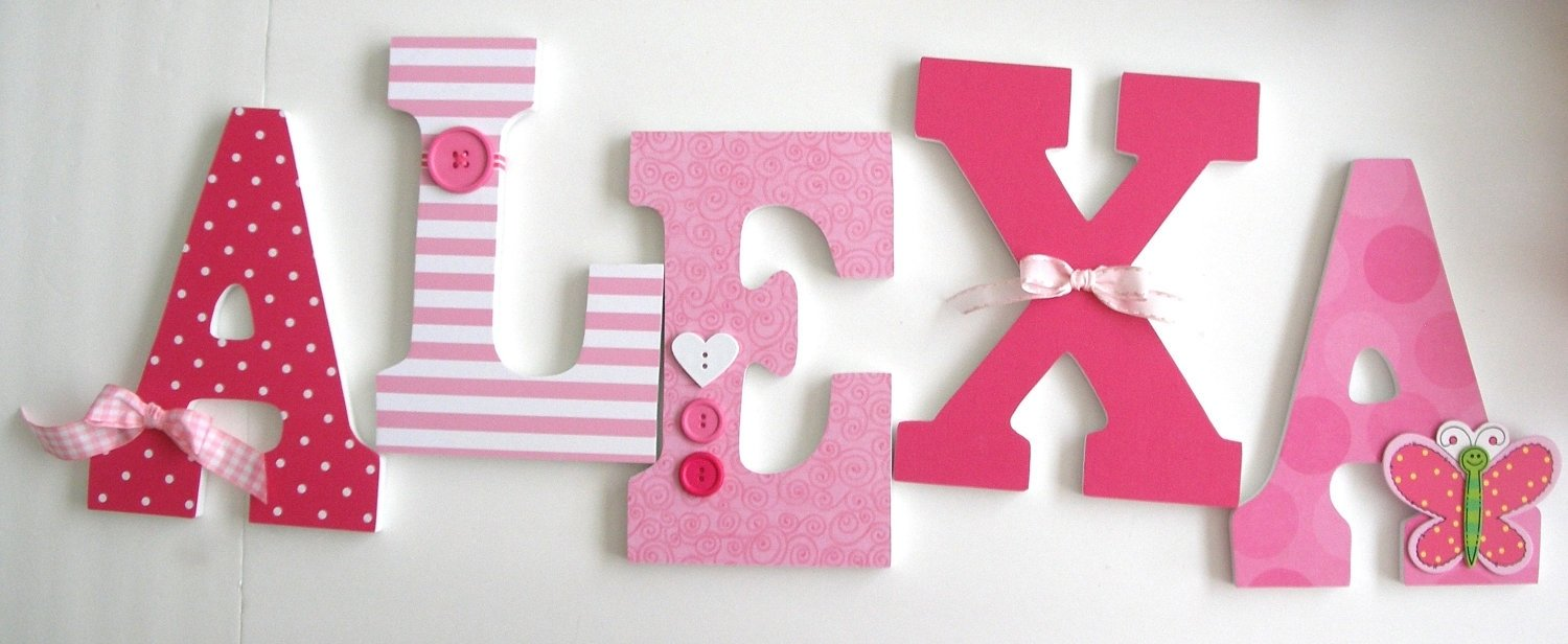 10 Fashionable Ideas For Decorating Wooden Letters baby girl custom wooden awesome wood letter wall decor home design 2020