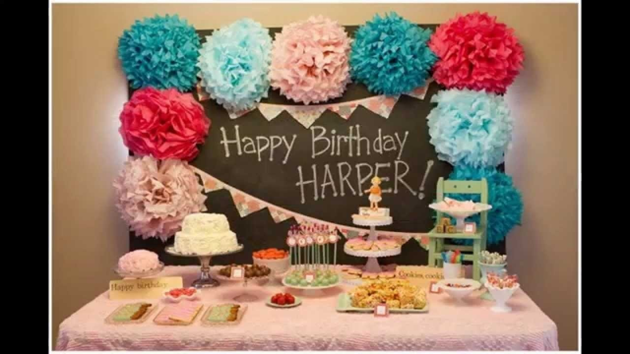 baby girl first birthday party decorations at home ideas - youtube
