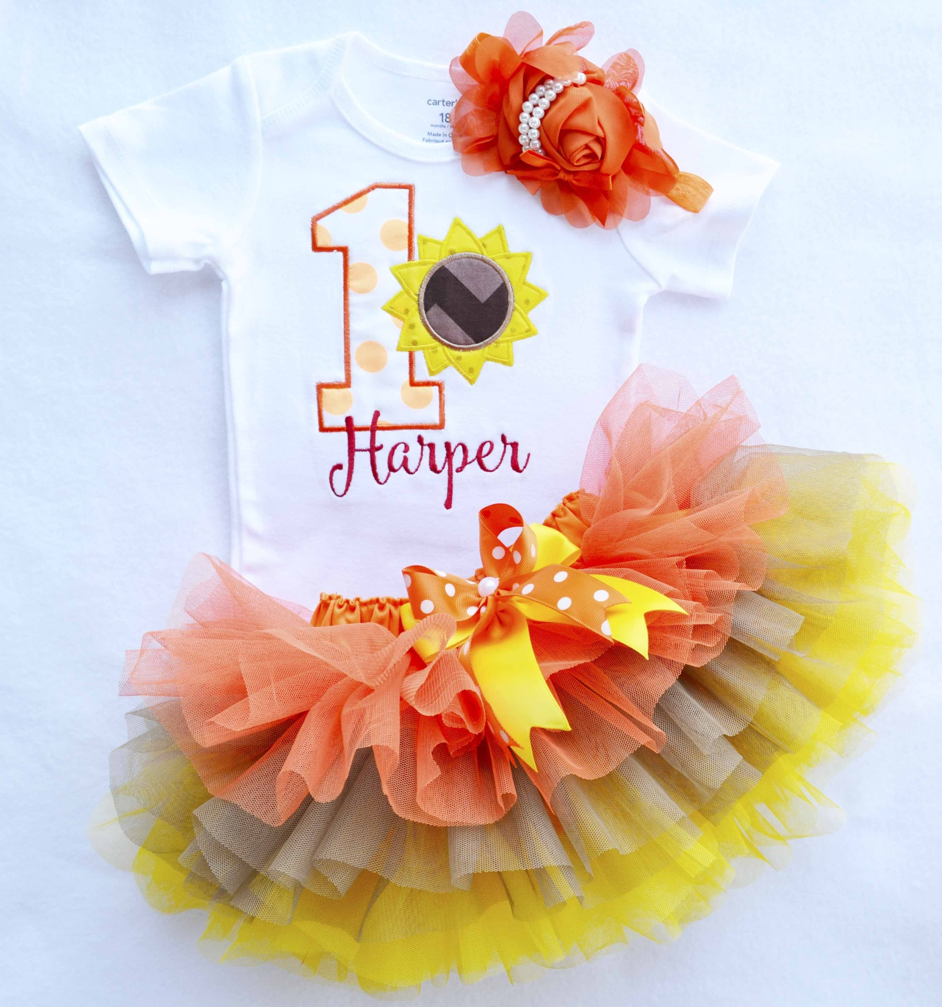 10 Stylish Fall First Birthday Party Ideas baby girl first sunflower birthday outfitfall first birthdaybaby 1