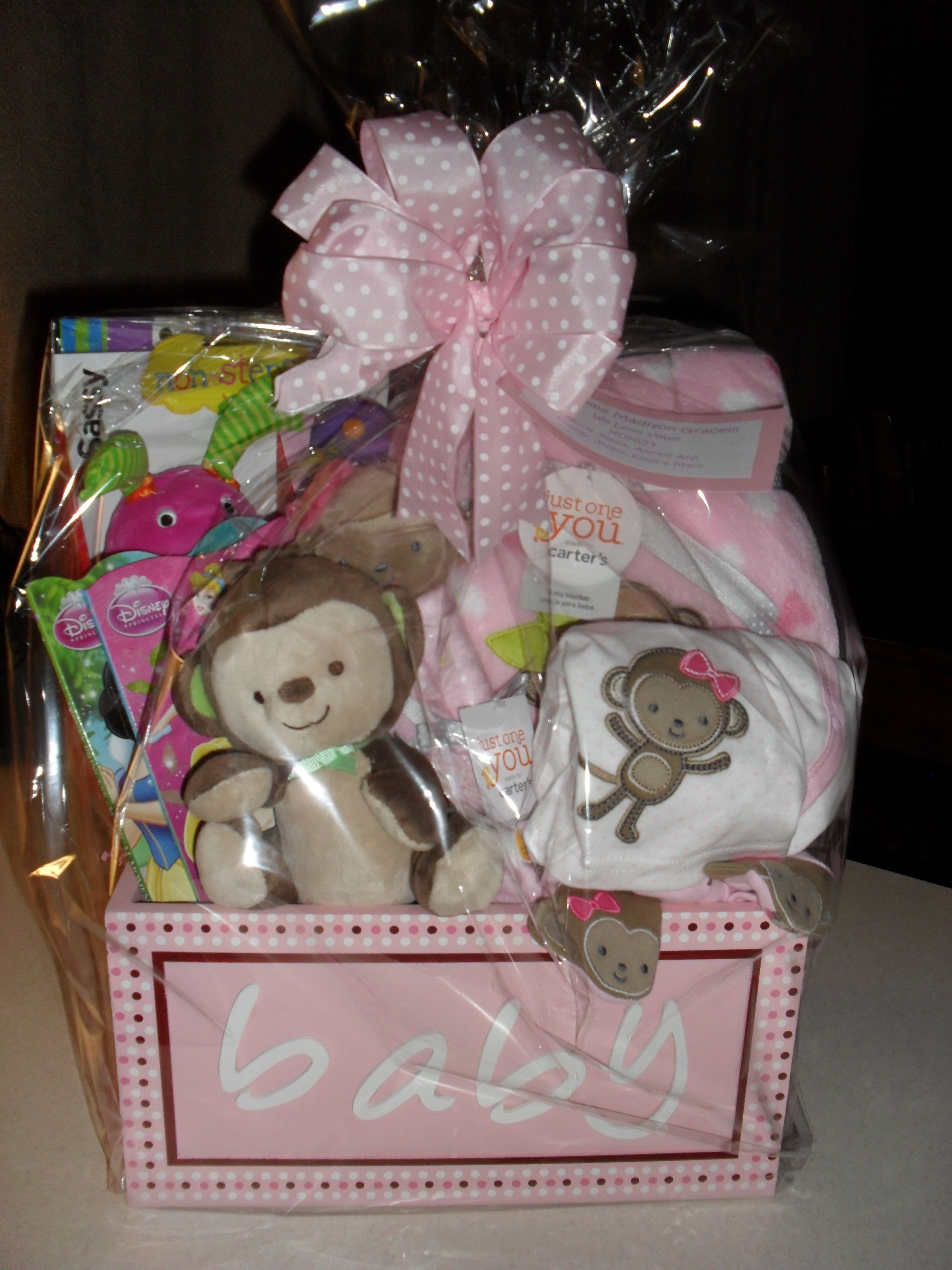 10 Lovable Baby Girl Gift Basket Ideas baby girl gift basket cellophane wrapped gifts gift baskets